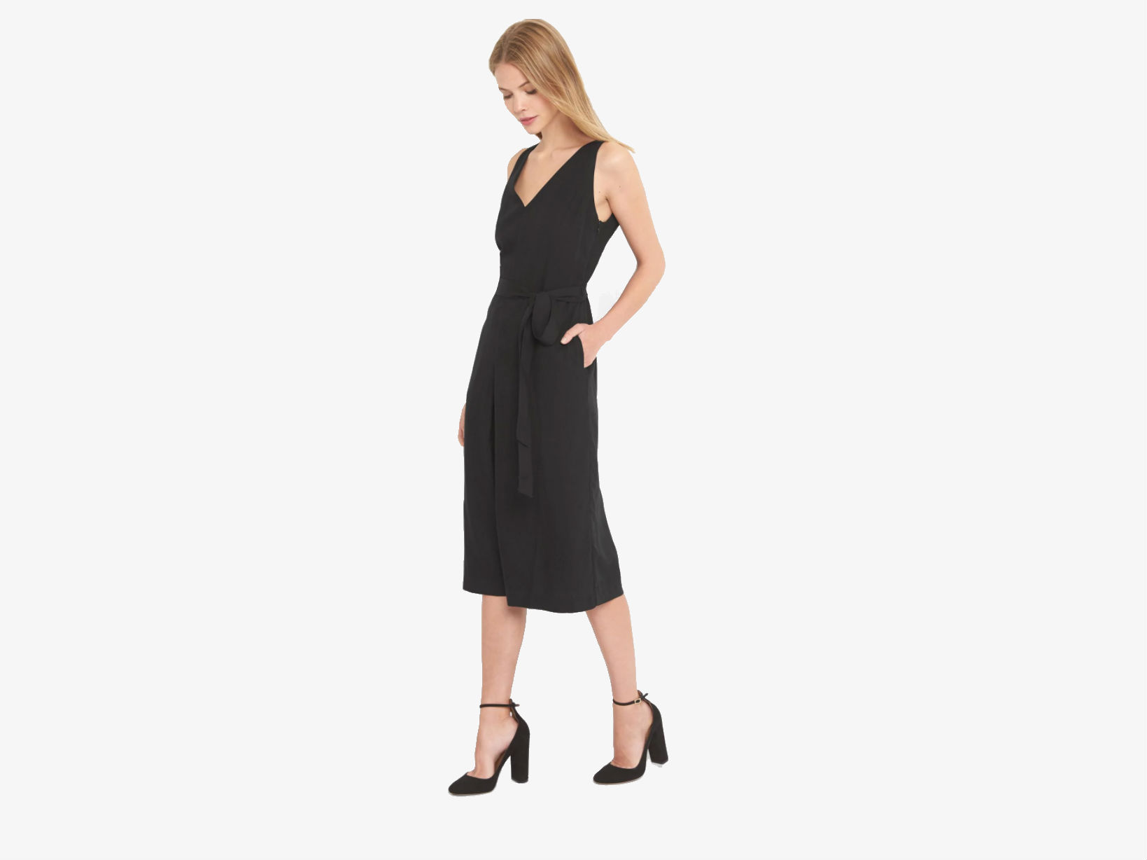 A model in a black sleeveless culotte jumpsuit