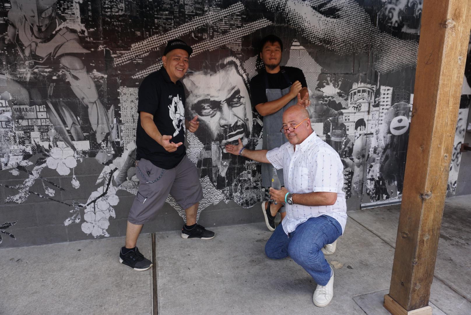 Andrew Zimmern posing at Ramen Tatsu-ya with Takuya Matsumoto and Tatsu Aikawa