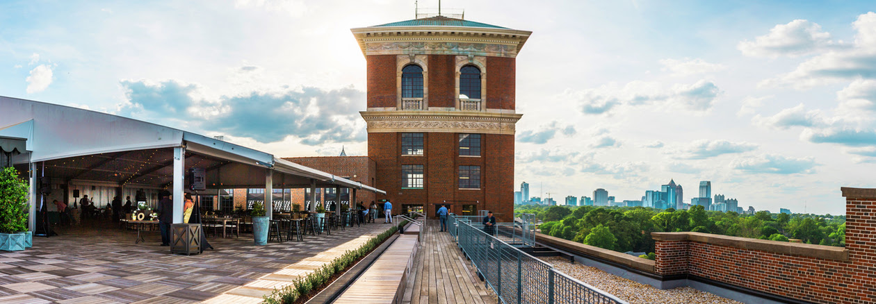 The Ponce City Market tented space, at left, with the circa-1926 building's tallest point.