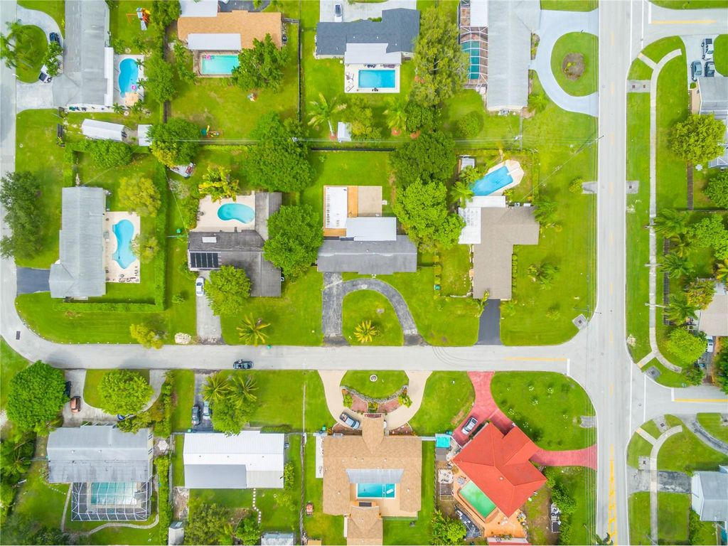 Aerial of single-family homes in Miami
