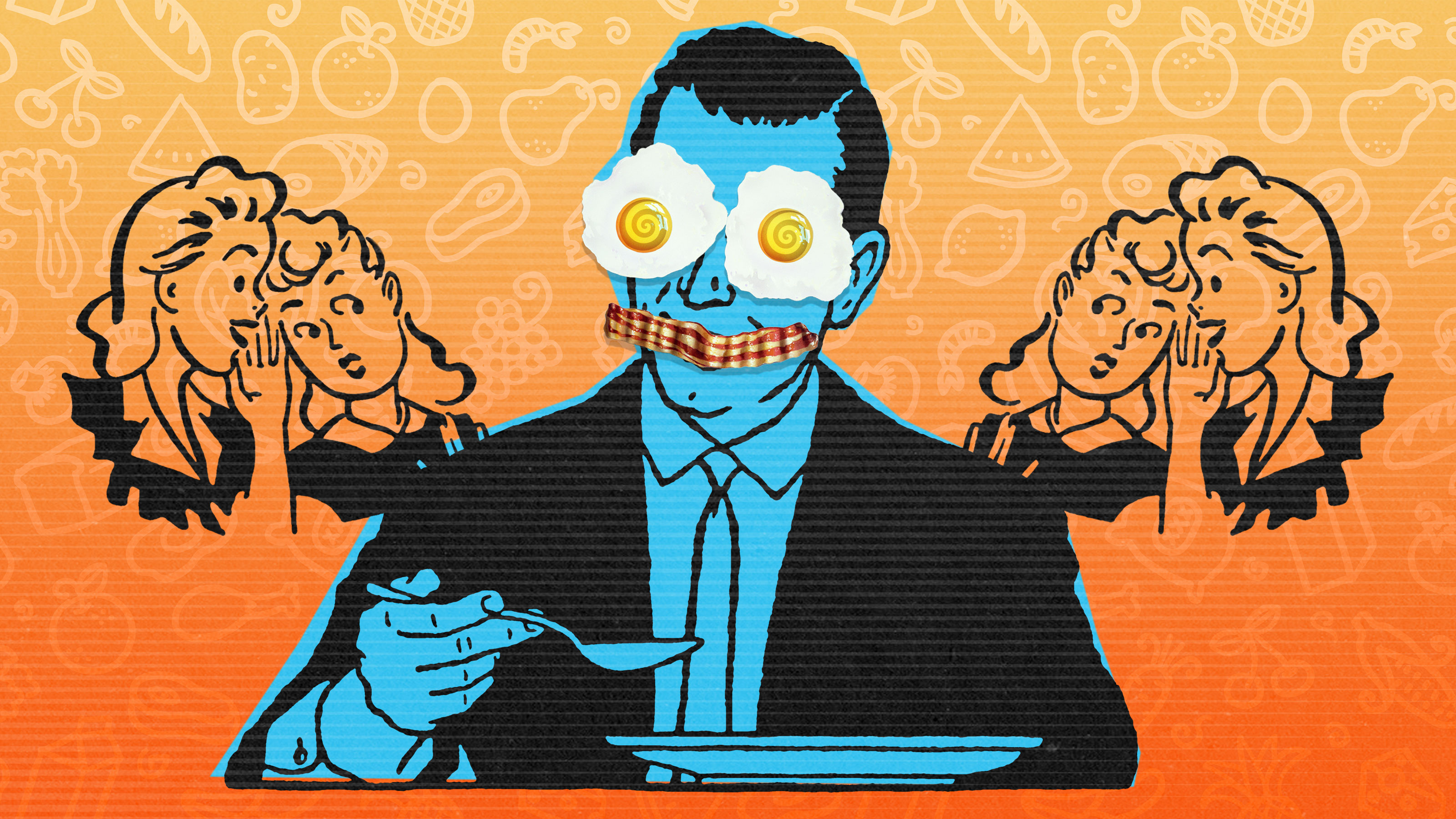 Illustration of a man personifying the eggs-and-bacon breakfast