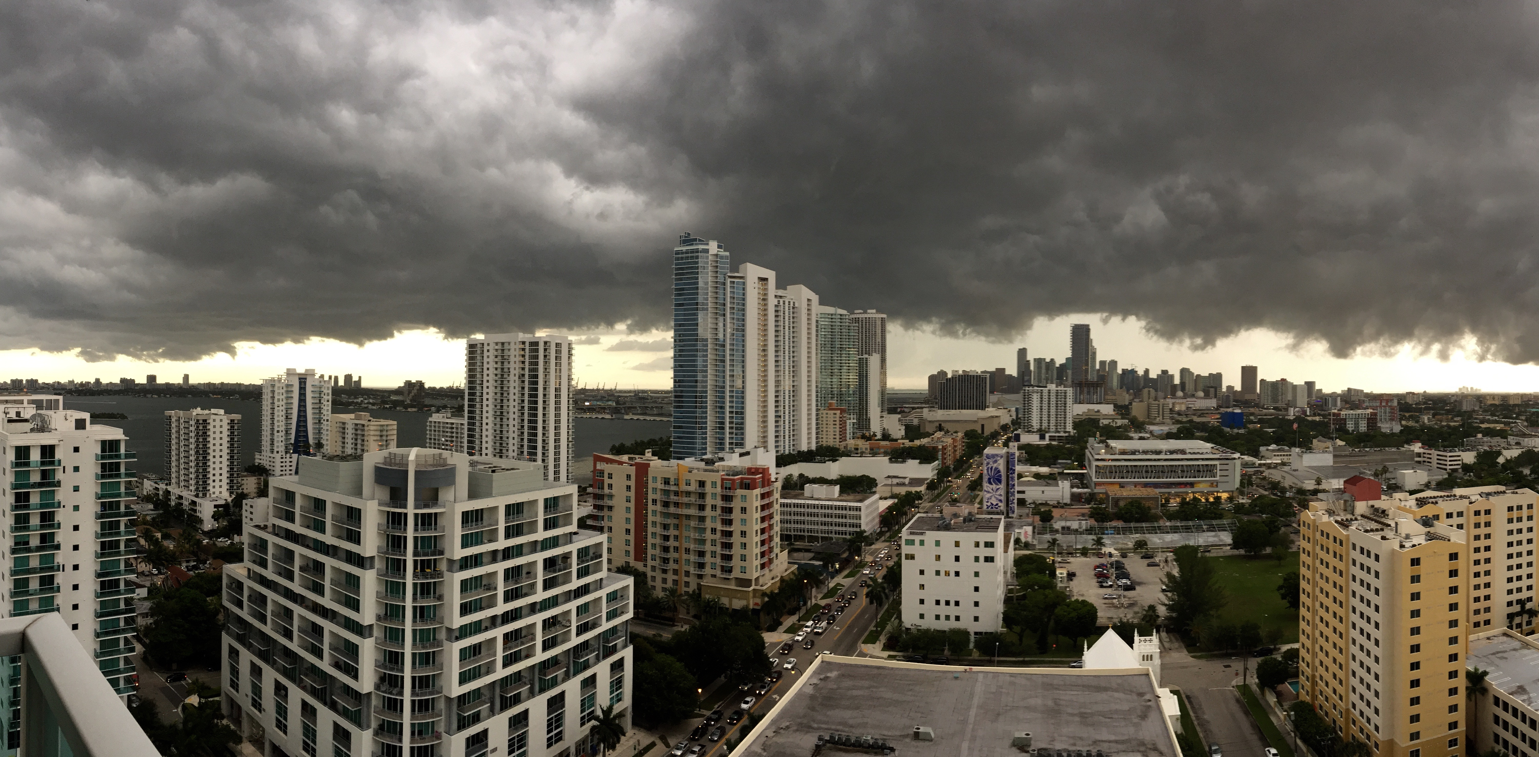 A gloomy Miami afternoon, with dark clouds hovering over Downtown