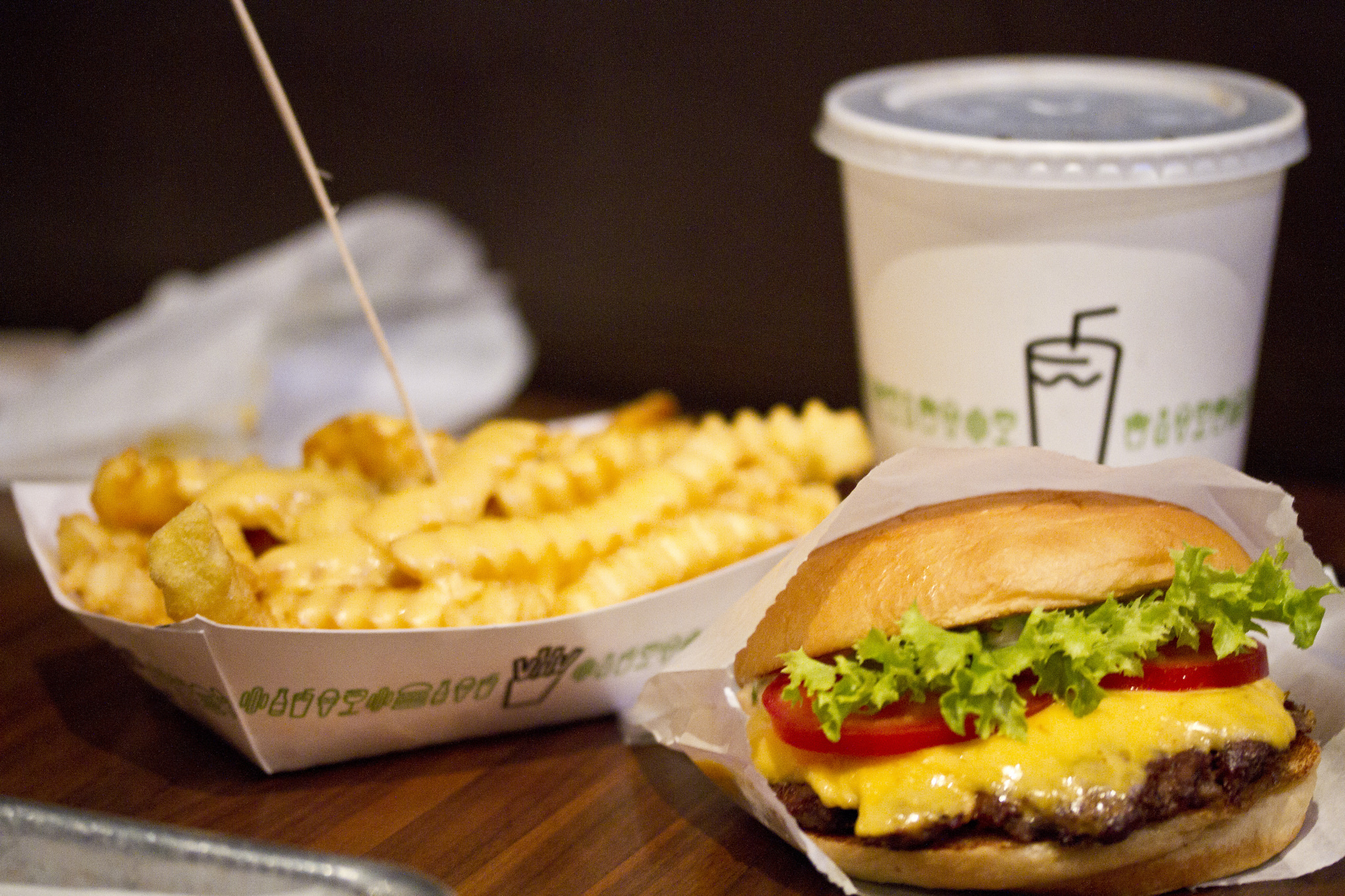 A Shackburger, fries, and a drink