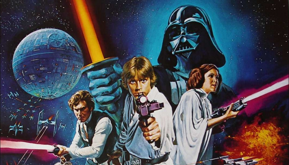 1970s poster of Star Wars featuring Luke, Leia and Han brandishing blasters with an ominous Darth Vader and Death Star in the background