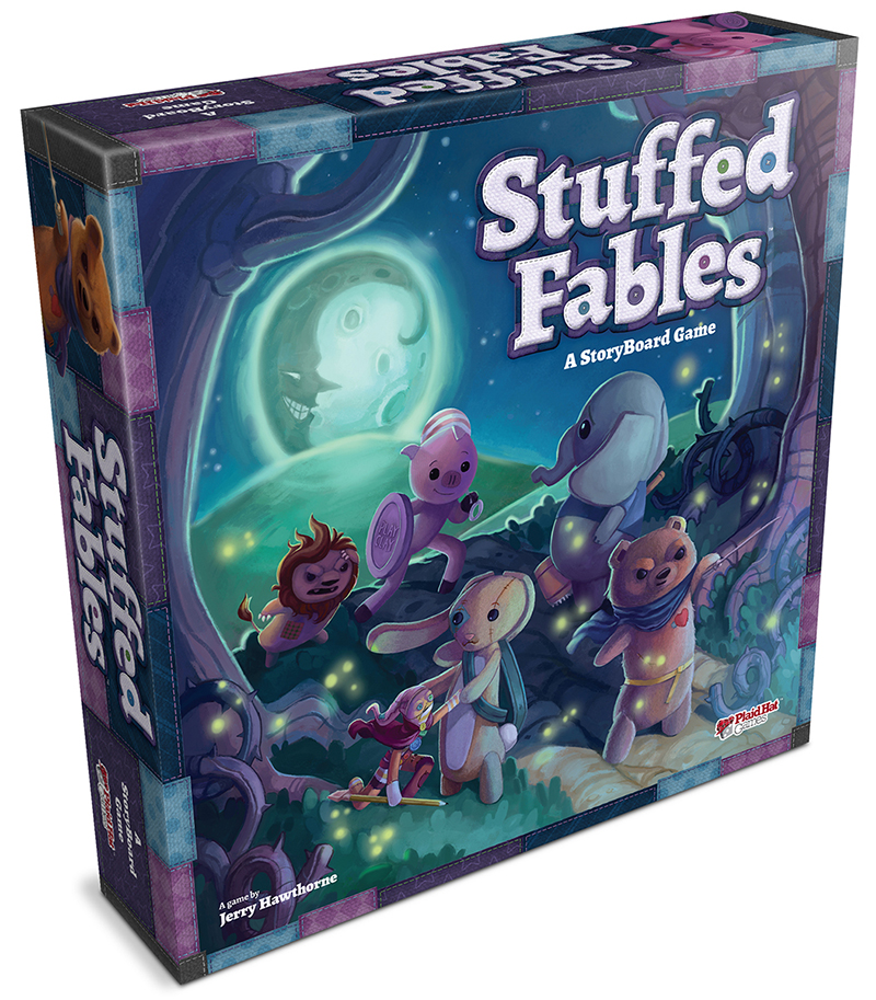 Stuffed animals fight off a swarm of lightening bugs on the cover of Stuffed Fables: A StoryBoard Game.