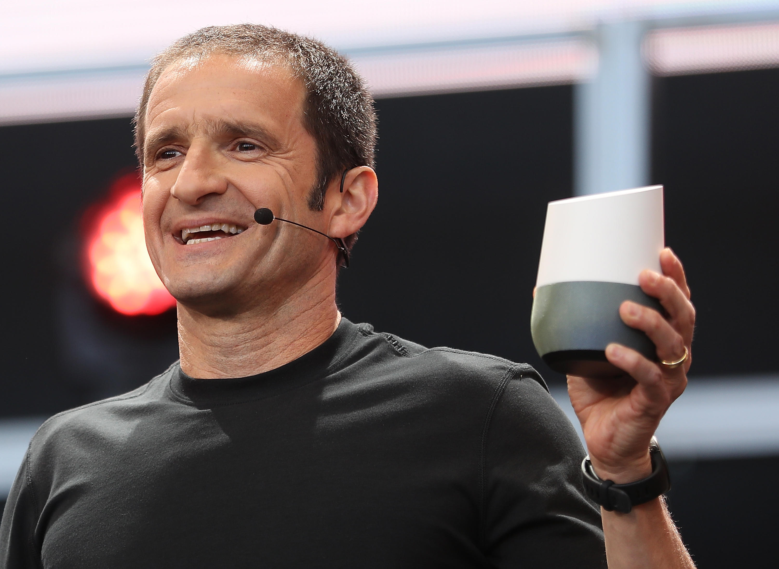 Google Vice President of Product Management Mario Queiroz shows the new Google Home voice-controlled speaker onstage Google I/O 2016