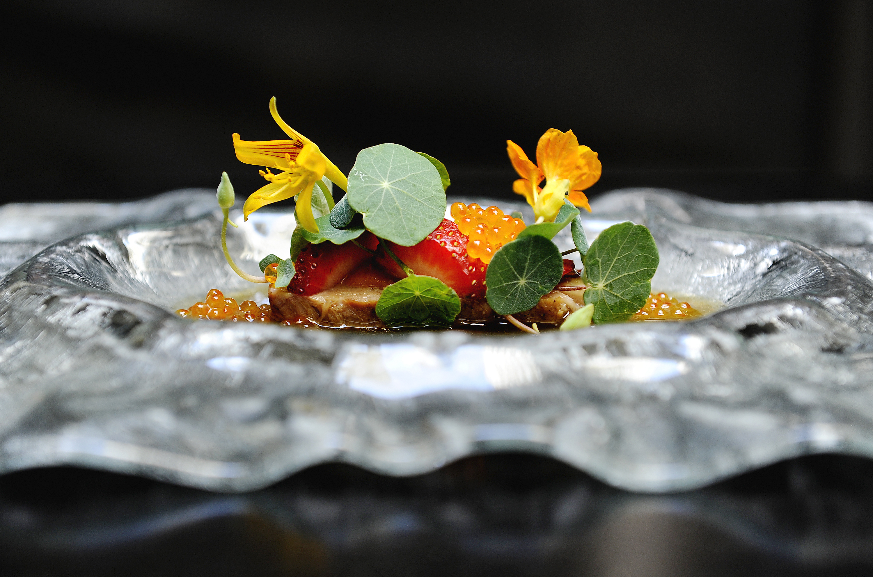 A bright fine dining dish, served on a wavy plate, with nasturtium and citrus.
