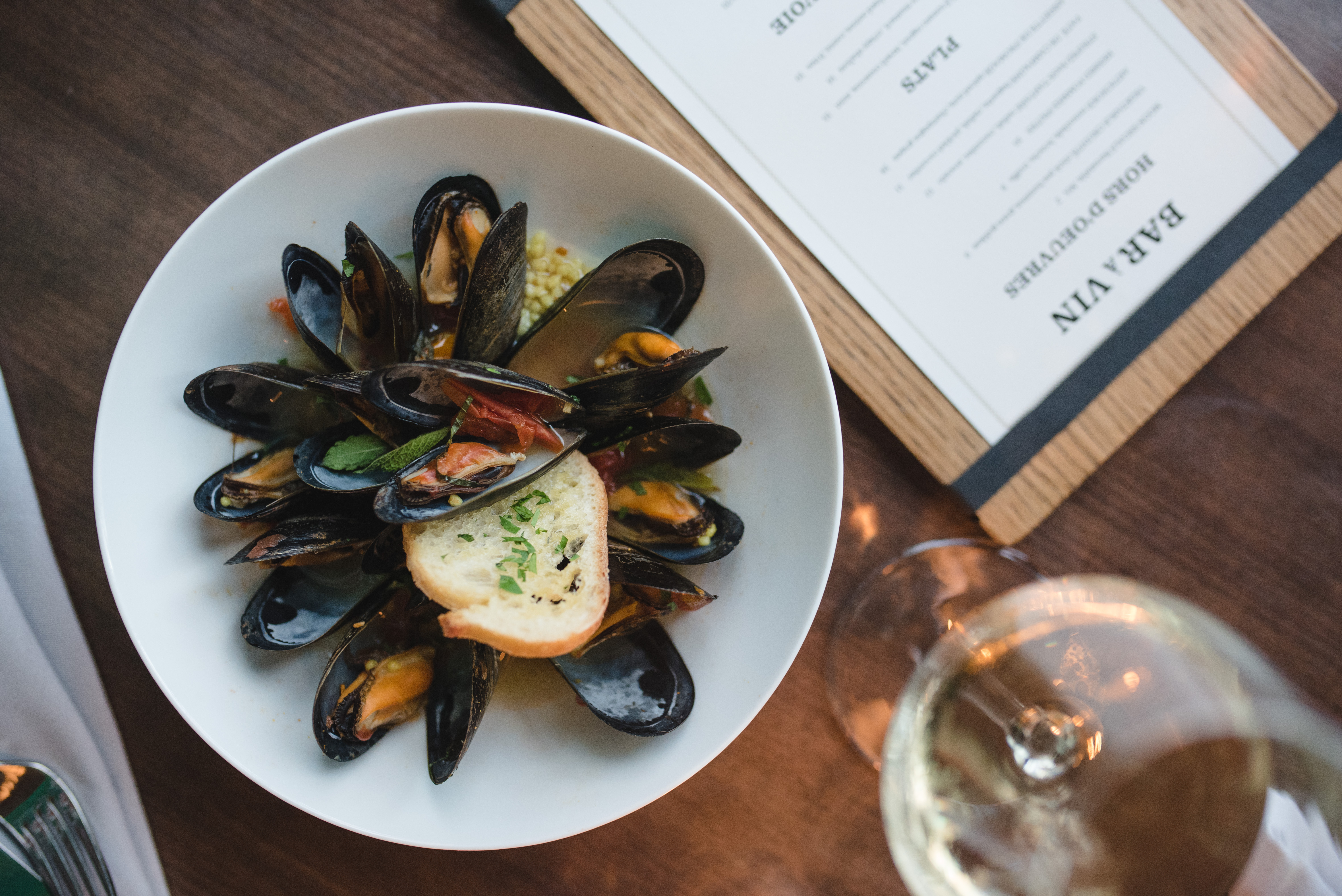 Steamed mussels at Les Sablons