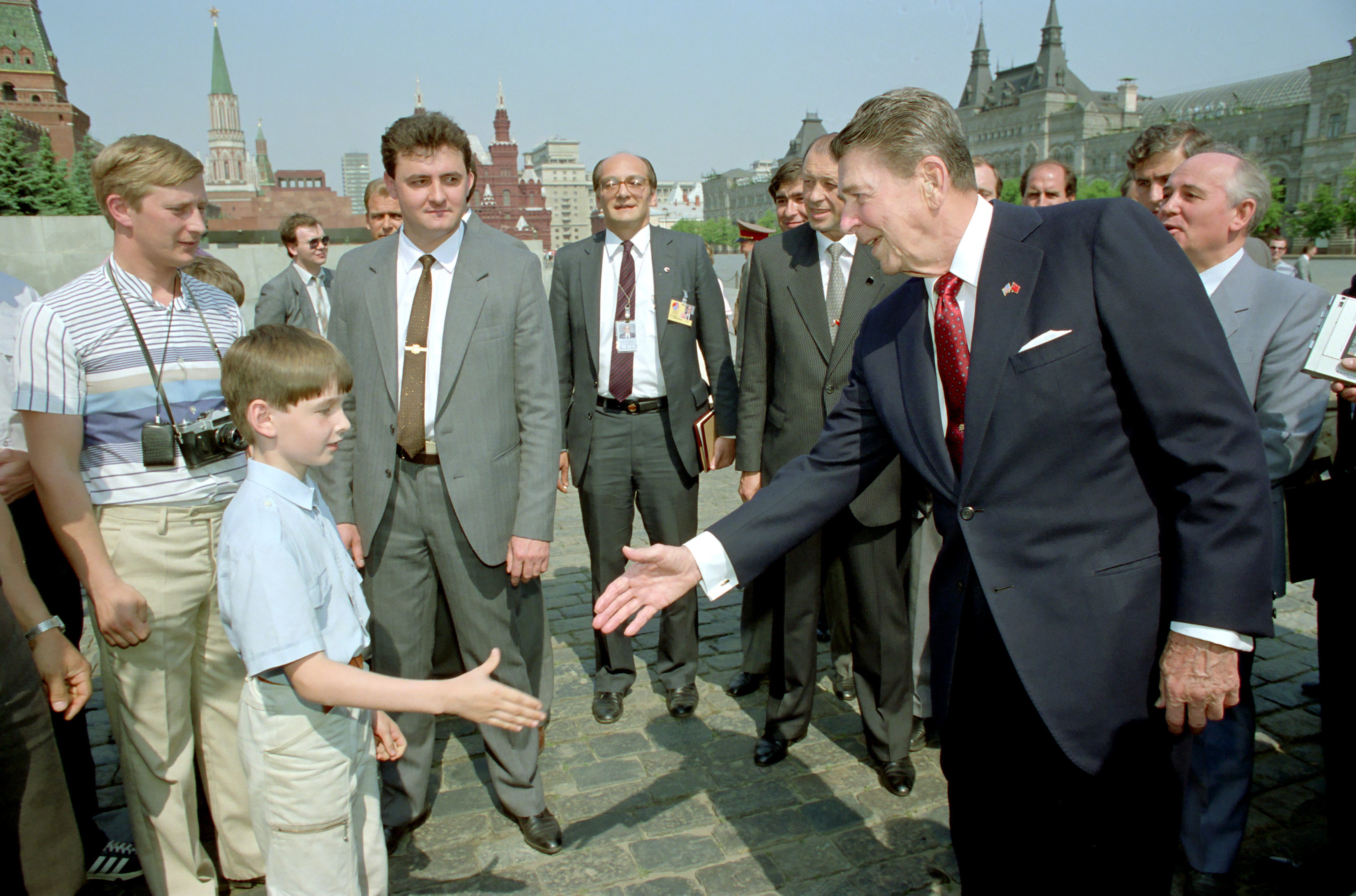 Reagan Tours Red Square With Gorbachev