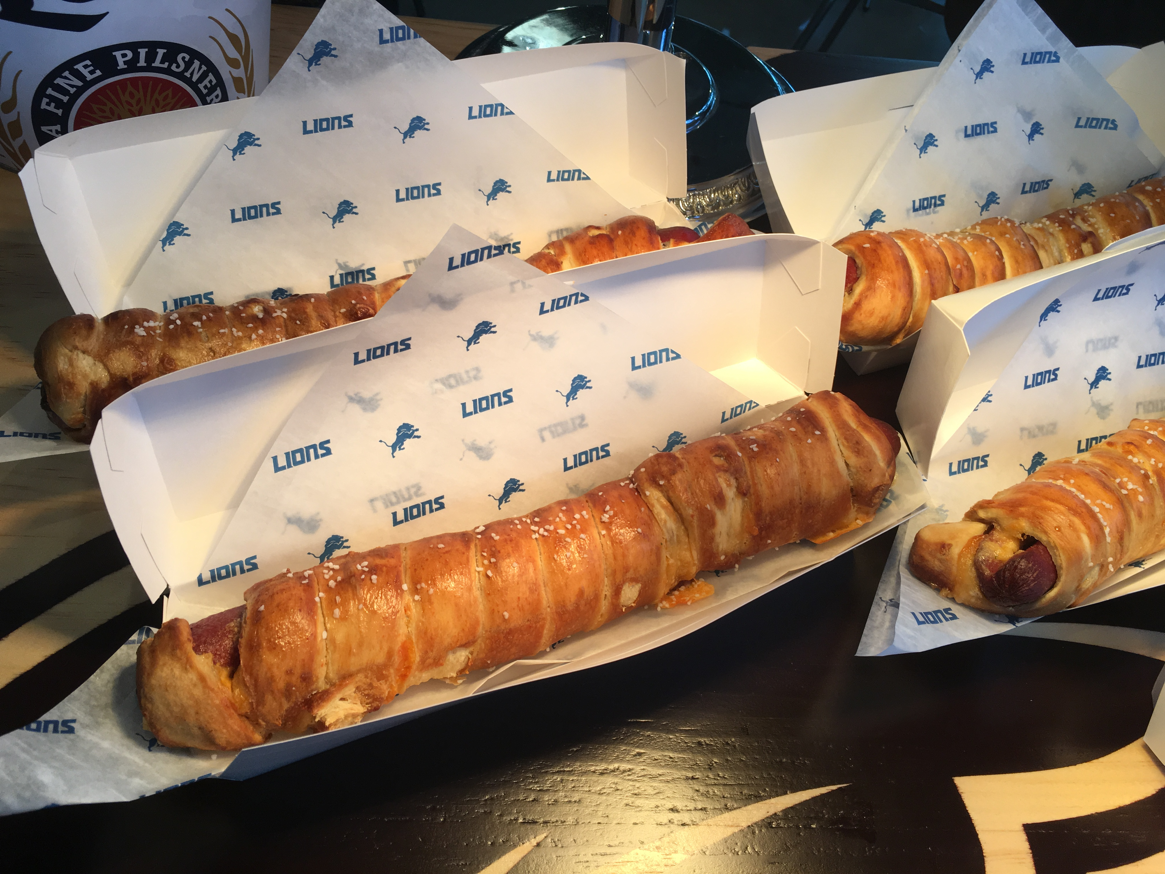 footlong beer cheese pretzel wrapped hot dog