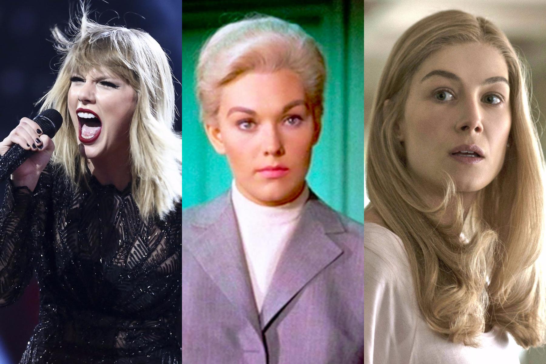 Taylor Swift, Kim Novak in Vertigo, and Rosamund Pike in Gone Girl