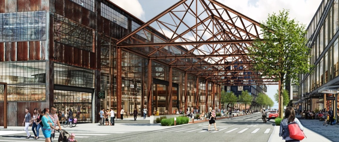 A rendering of a large public square with shops and a wooden atrium overhead.