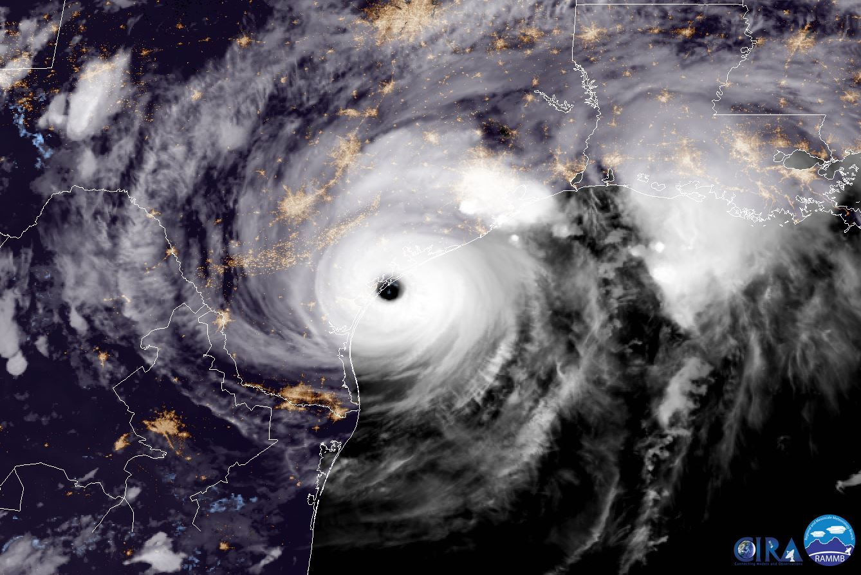 NOAA's satellite image of Hurricane Harvey last night