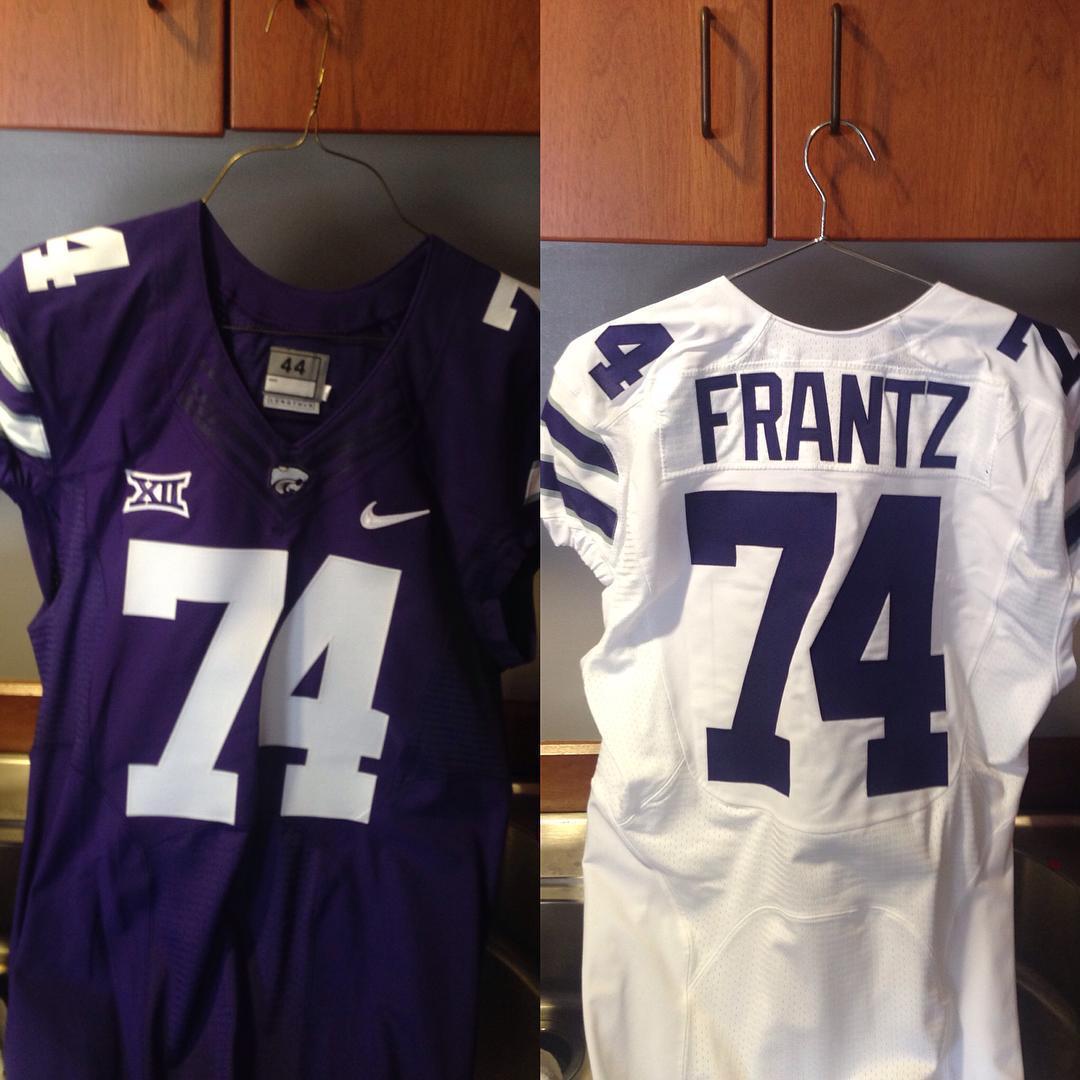 Scott Frantz wears 74 for the Kansas State Wildcats.