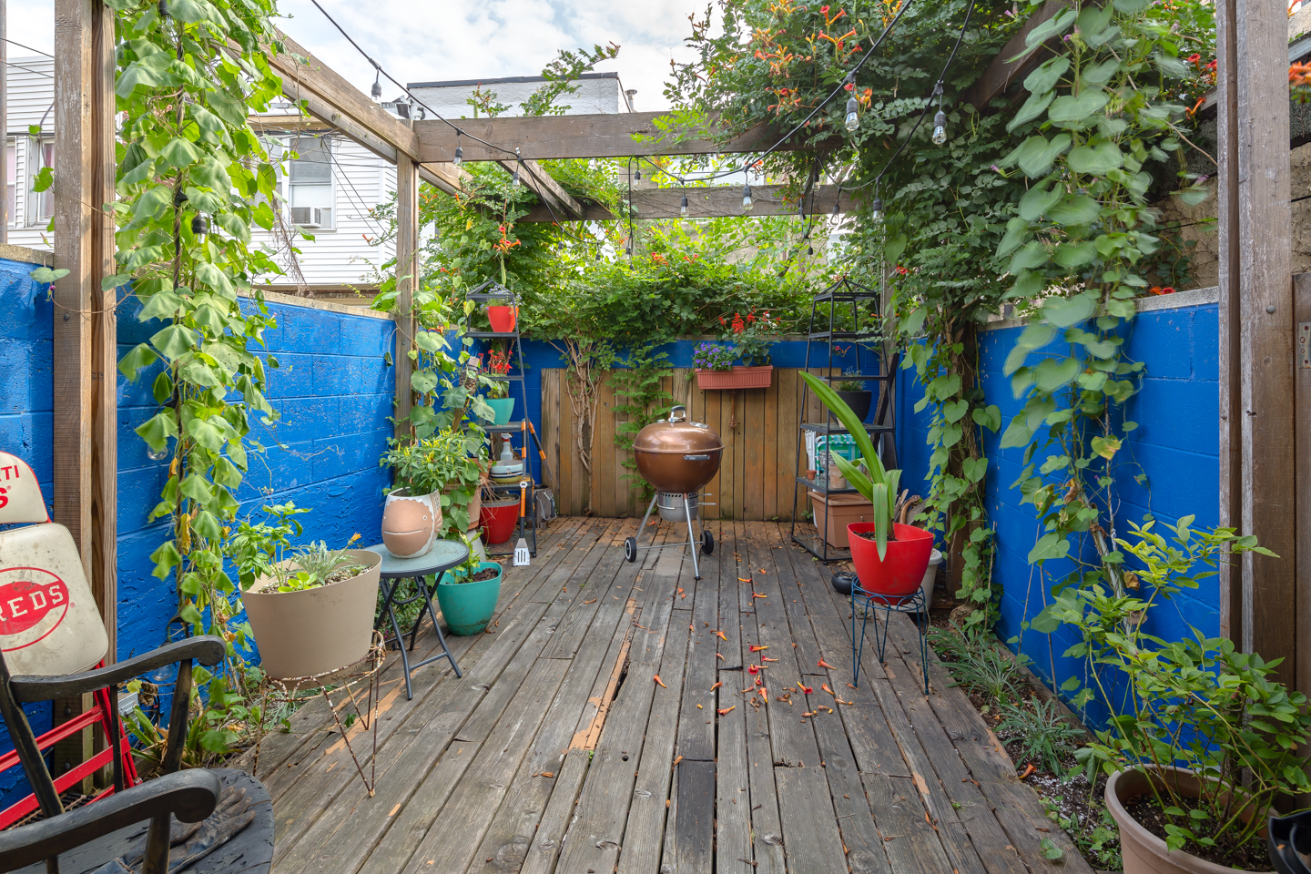 A secluded backyard patio in South Philly with blue-painted walls and a trellis.