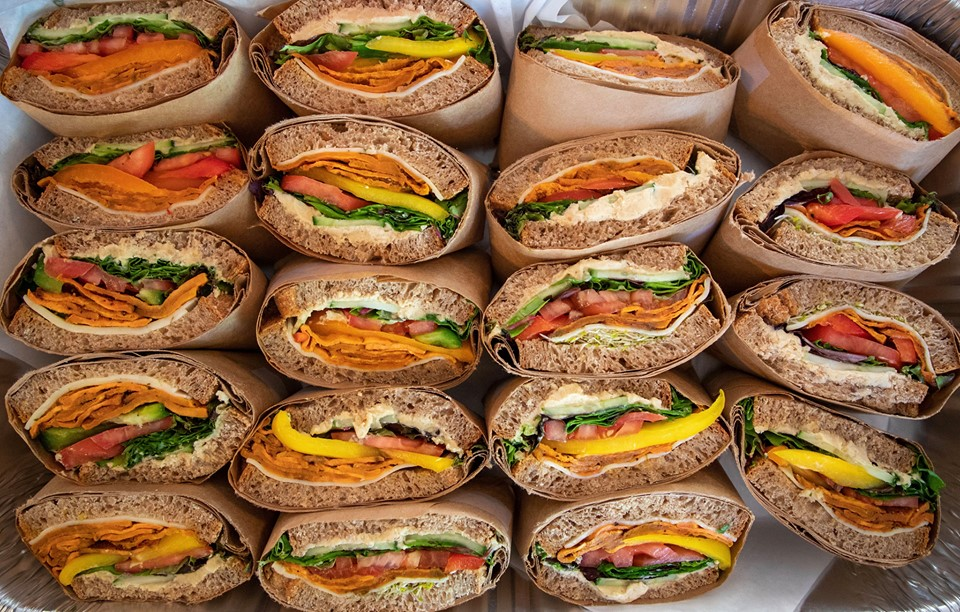 Rows of sandwiches