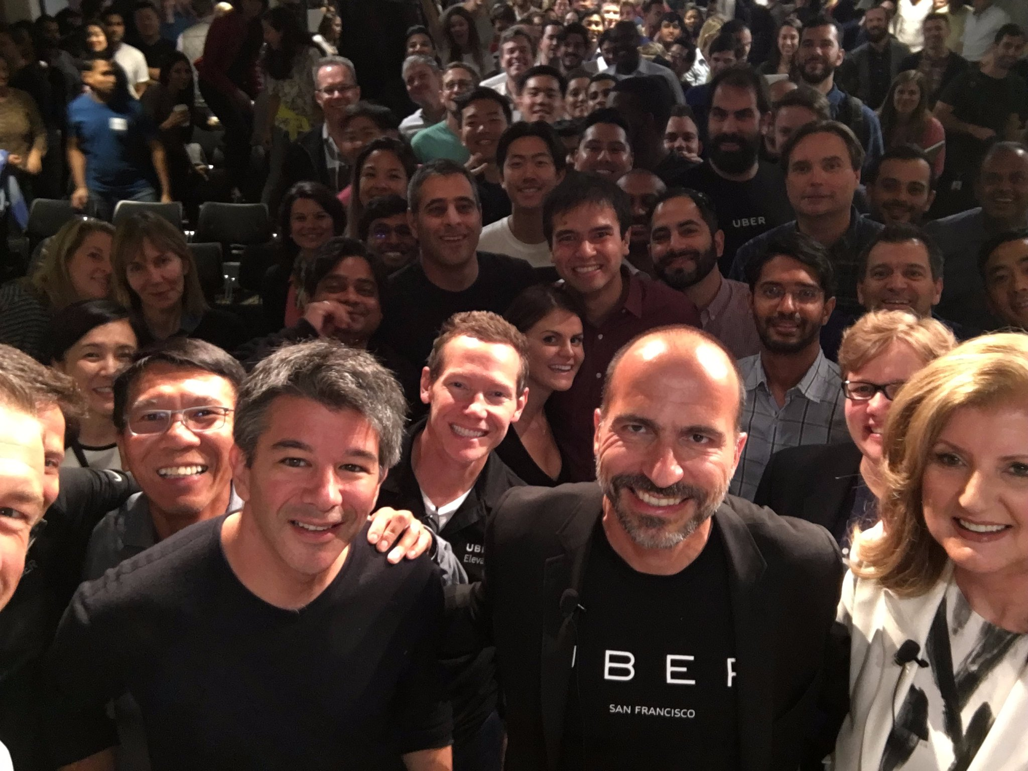 A selfie of Uber employees featuring former CEO Travis Kalanick, current CEO Dara Khosrowshahi and board member Arianna Huffington