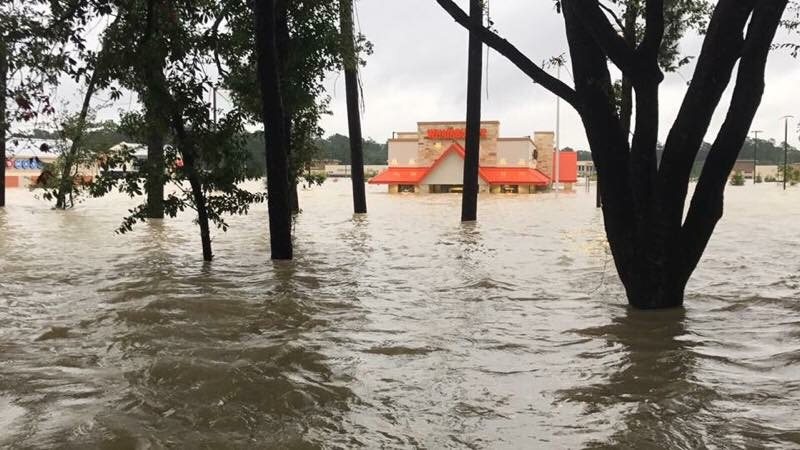 A flooded Houston Whataburger