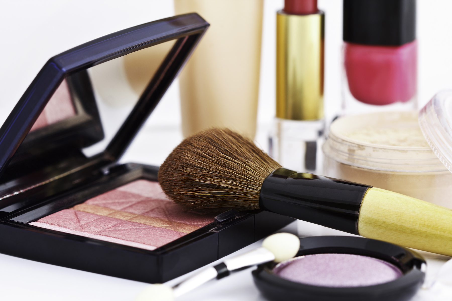 Beauty products sitting on a counter