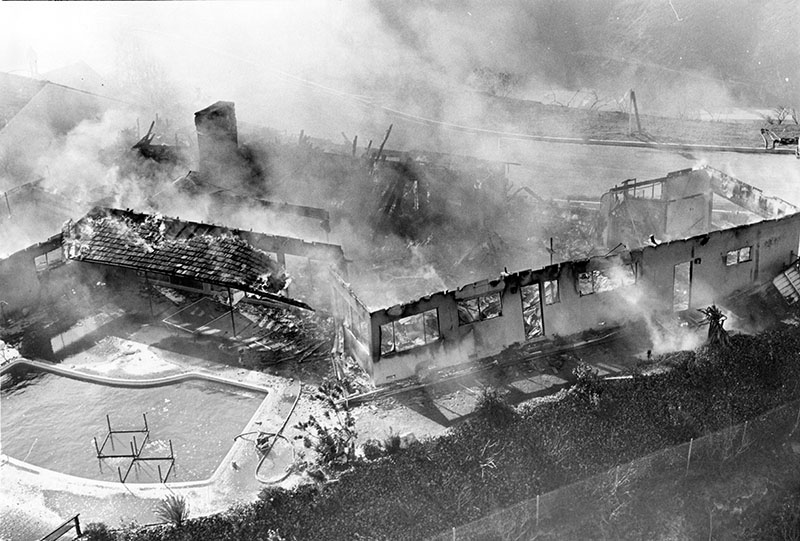 View of house burning