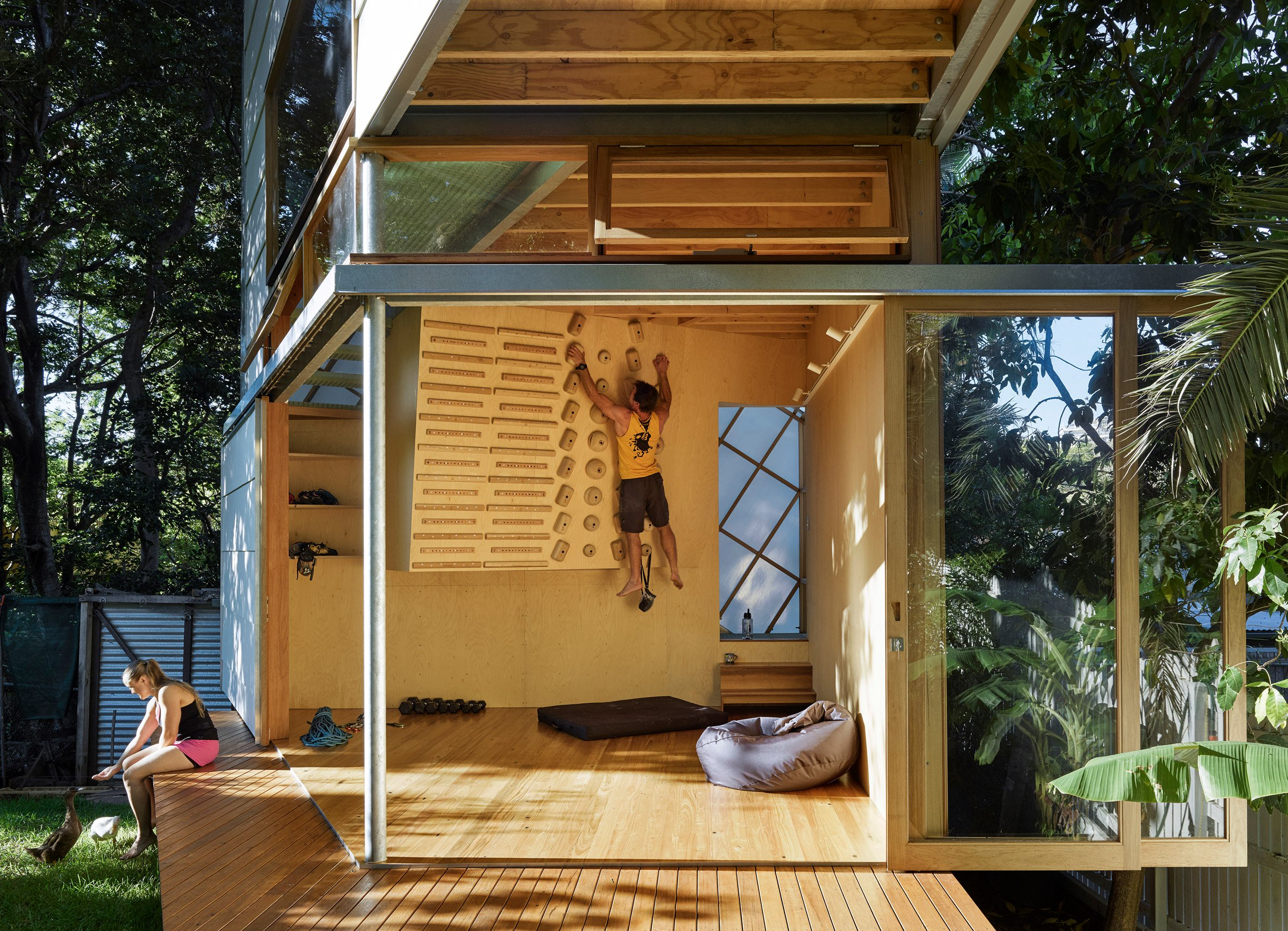 Flipboard Tiny Home Meets Treehouse In This Angular Backyard Extension