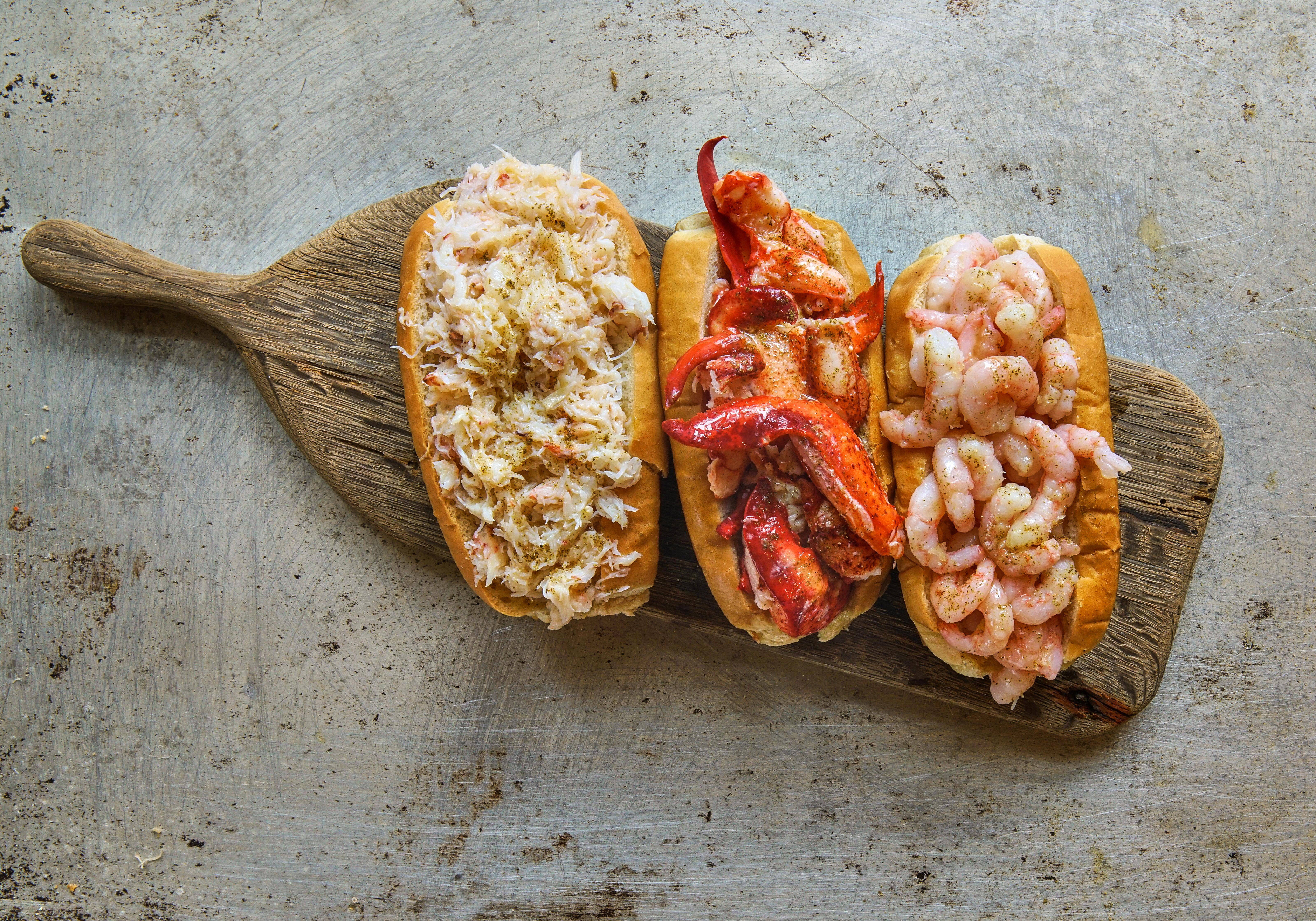 Crab, lobster, and shrimp rolls at Luke's Lobster