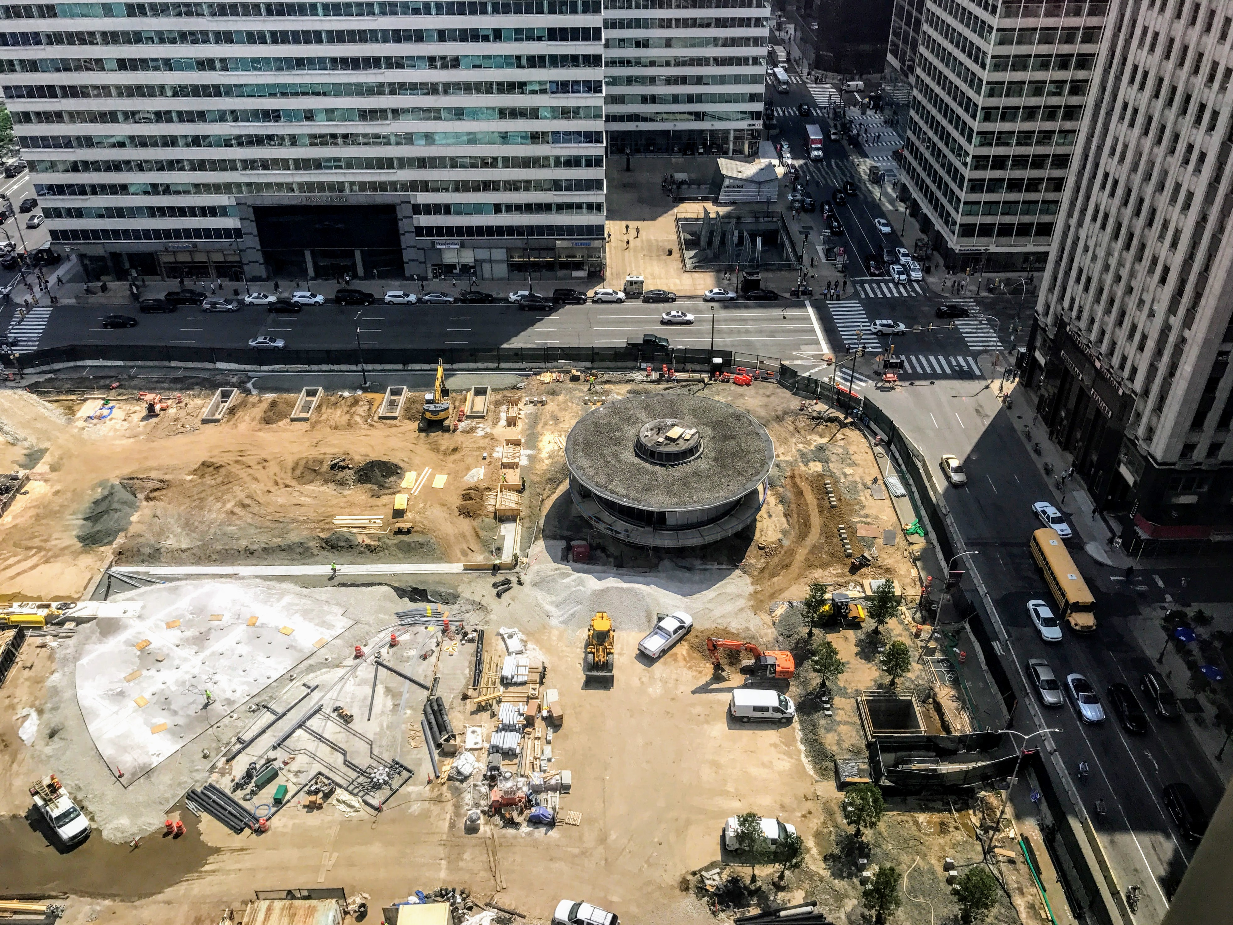 An aerial view of LOVE Park under construction in Philadelphia.