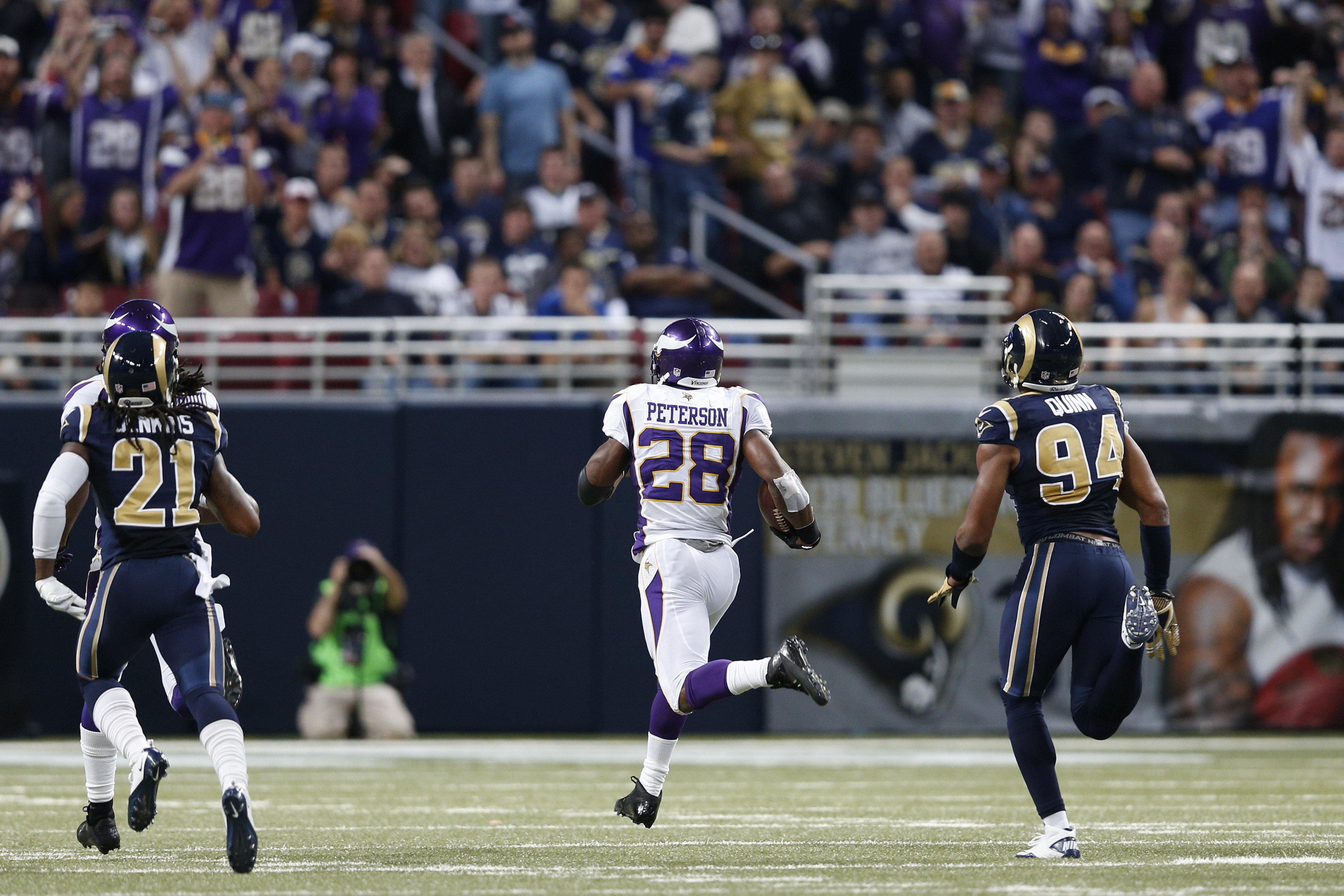 This is Adrian Peterson, running away with the 2012 SB Nation Offensive Player of the Year Award. Running away? Get it? See what I did there?