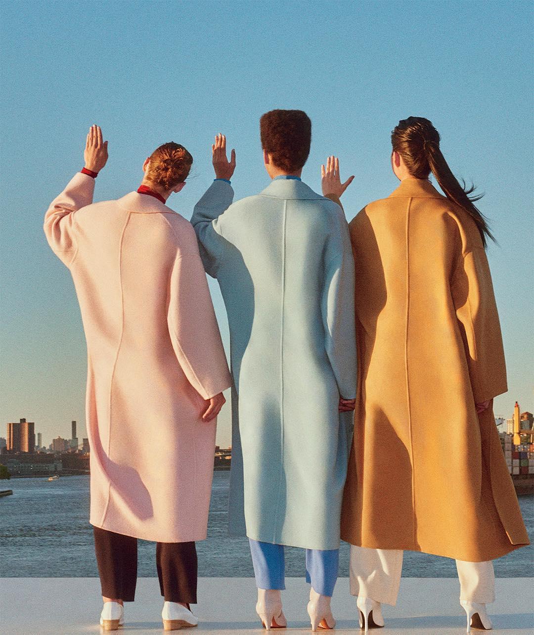 Three models wearing Mansur Gavriel outerwear