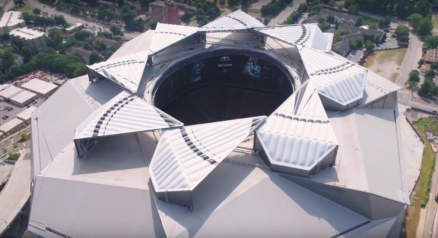Screen-captures, above and below, show the Mercedes-Benz Stadium roof undergoing open-close test sequences Aug. 29.