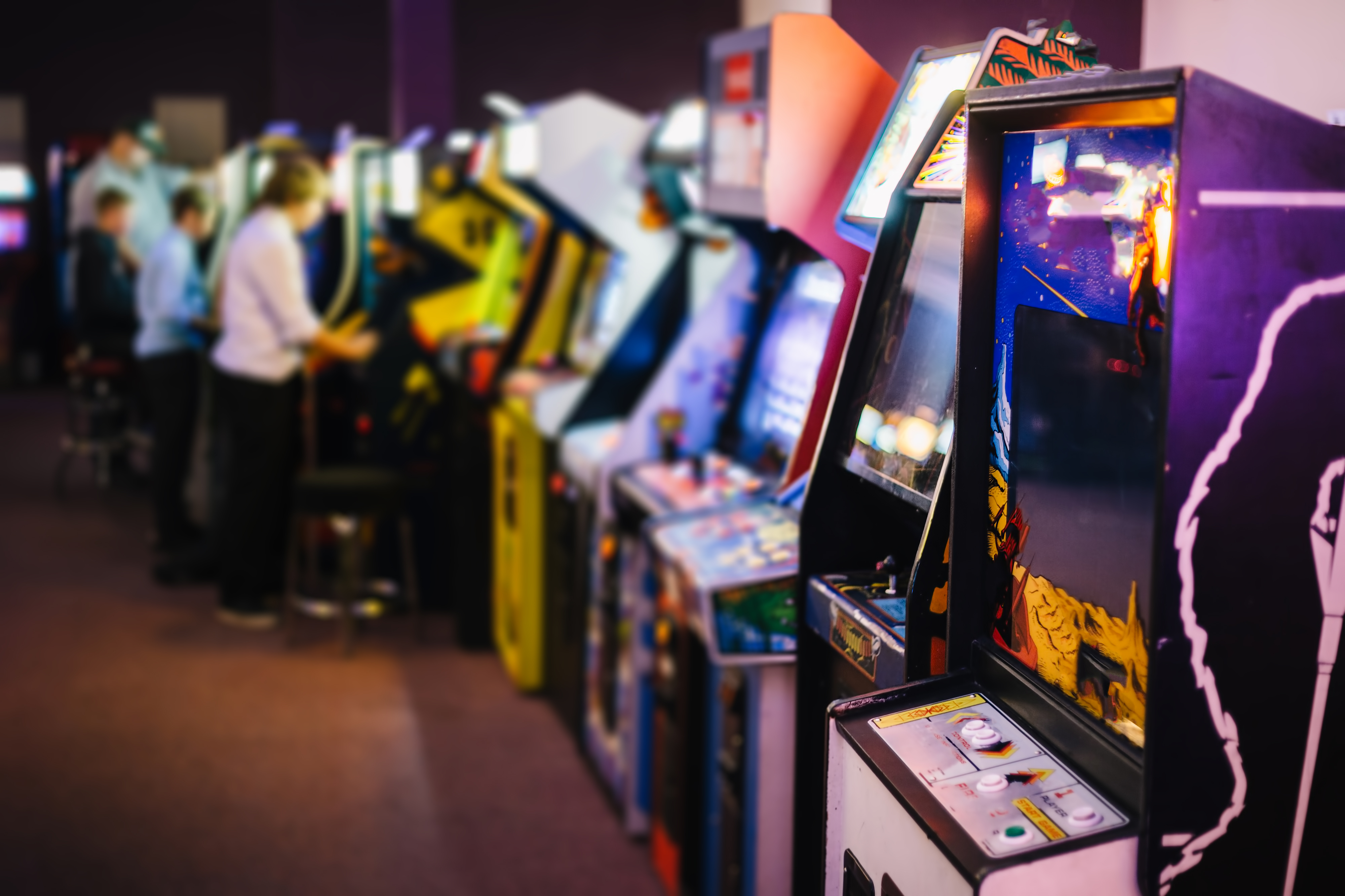 A row of arcade machines in Seattle.