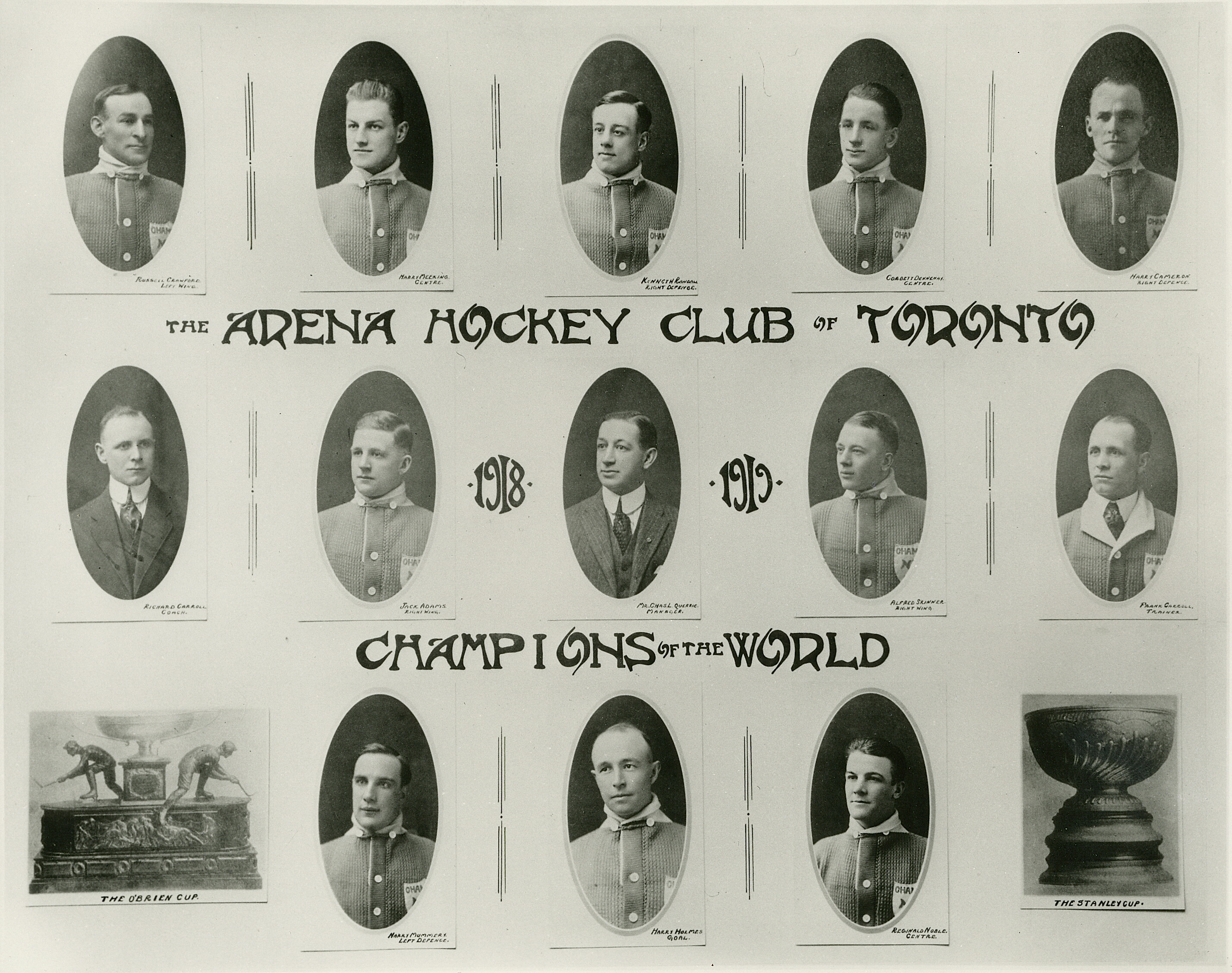 """Team photo of the Arena Hockey Club of Toronto, a.k.a Toronto Arenas, O'Brien Cup and Stanley Cup Champions for the 1917–18 season. Top row, left to right:Russell """"Rusty"""" Crawford,Harry Meeking,Ken Randall,Corbett Dennenyand&"""