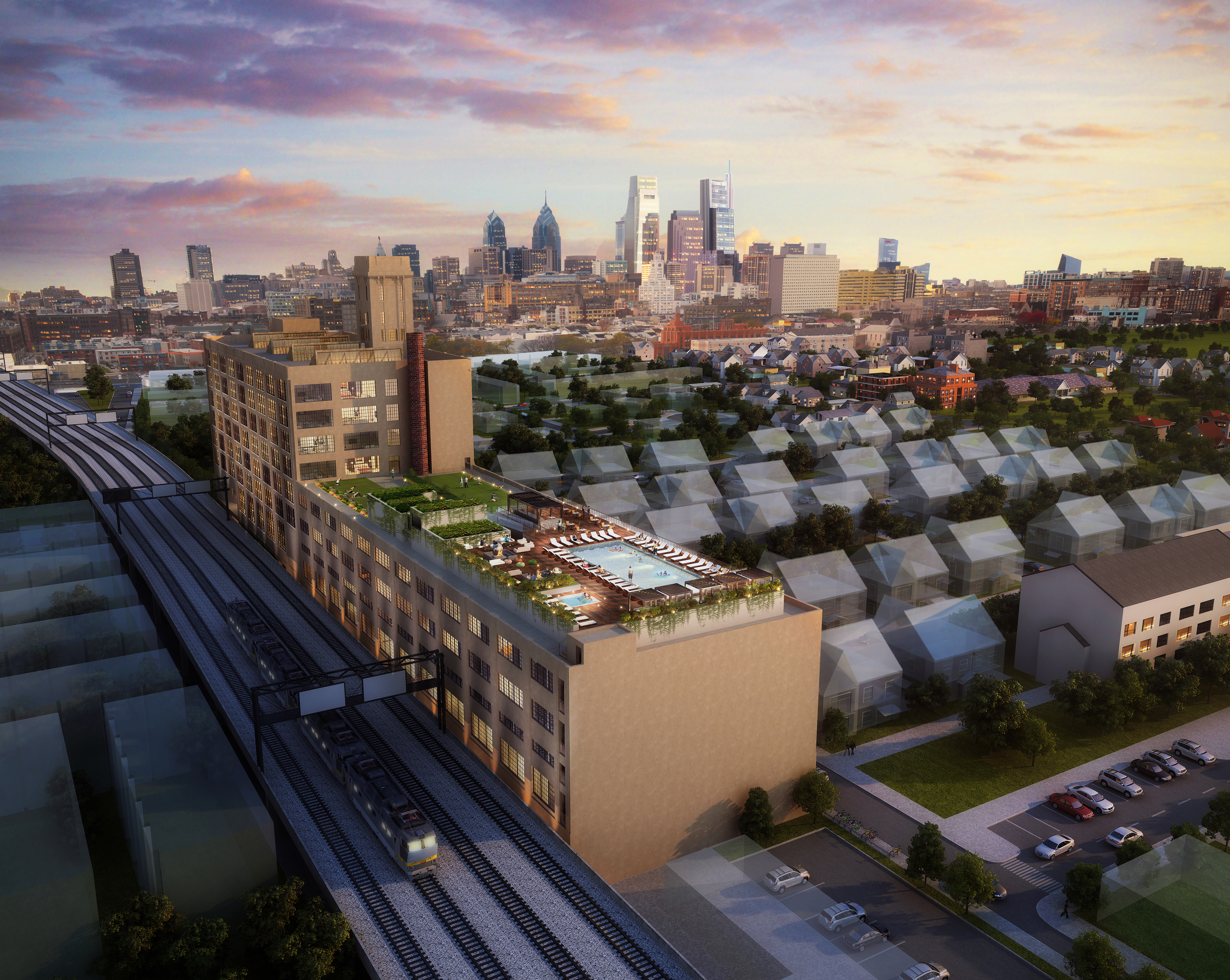 An aerial view of the proposed conversion of an old Quaker warehouse in Philly into apartments with a roof deck and pool.