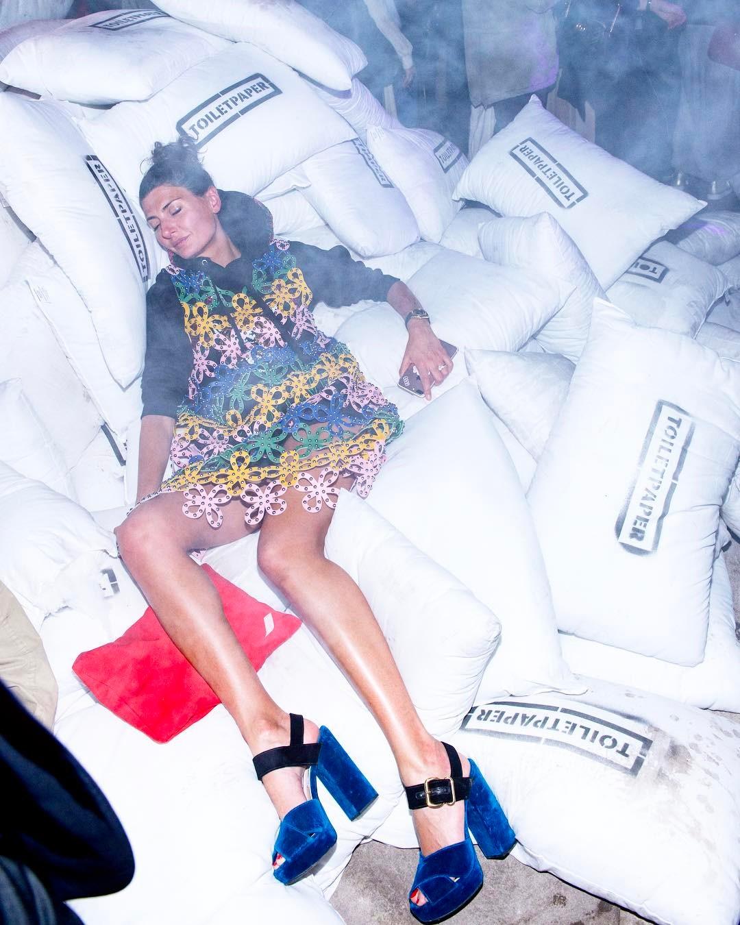 Giovanna Battaglia in Prada platform heels