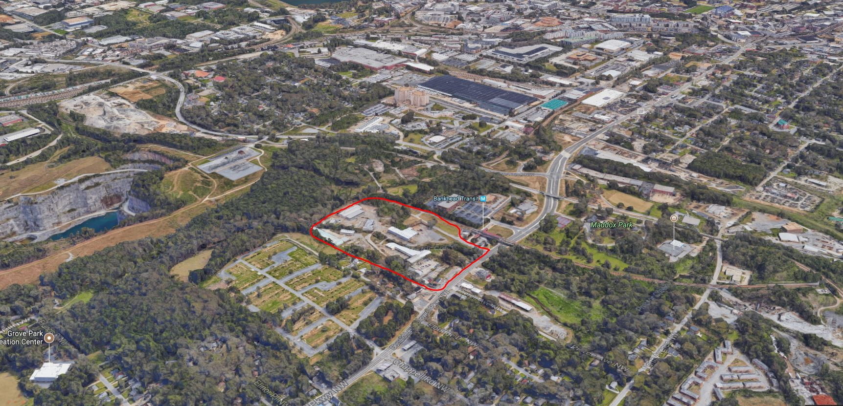 A red circle around holdings Teixeira hopes to develop, adjacent to Bankhead Station. The new park is visible at left, with Georgia Tech's campus at top right.