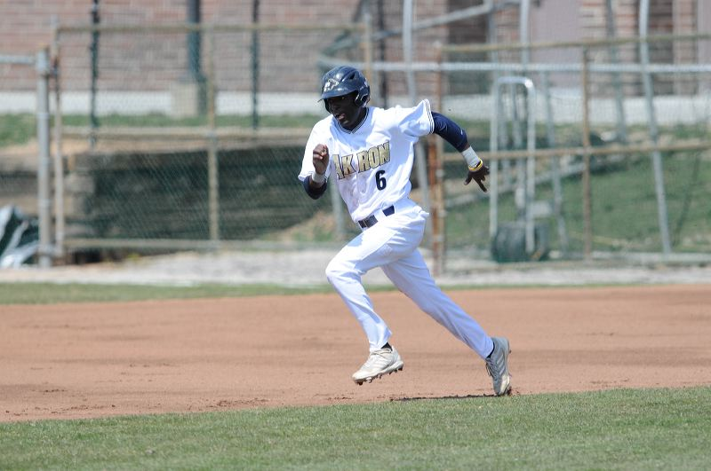 Ahart attempts to steal second base. (Jeff Harwell-Akron Athletics)