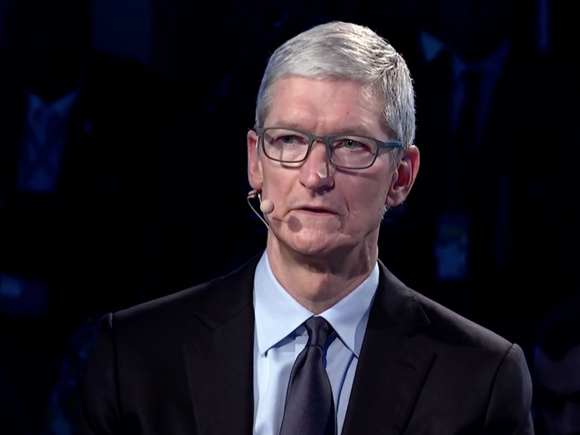 Apple CEO Tim Cook onstage at Bloomberg Global Business Forum