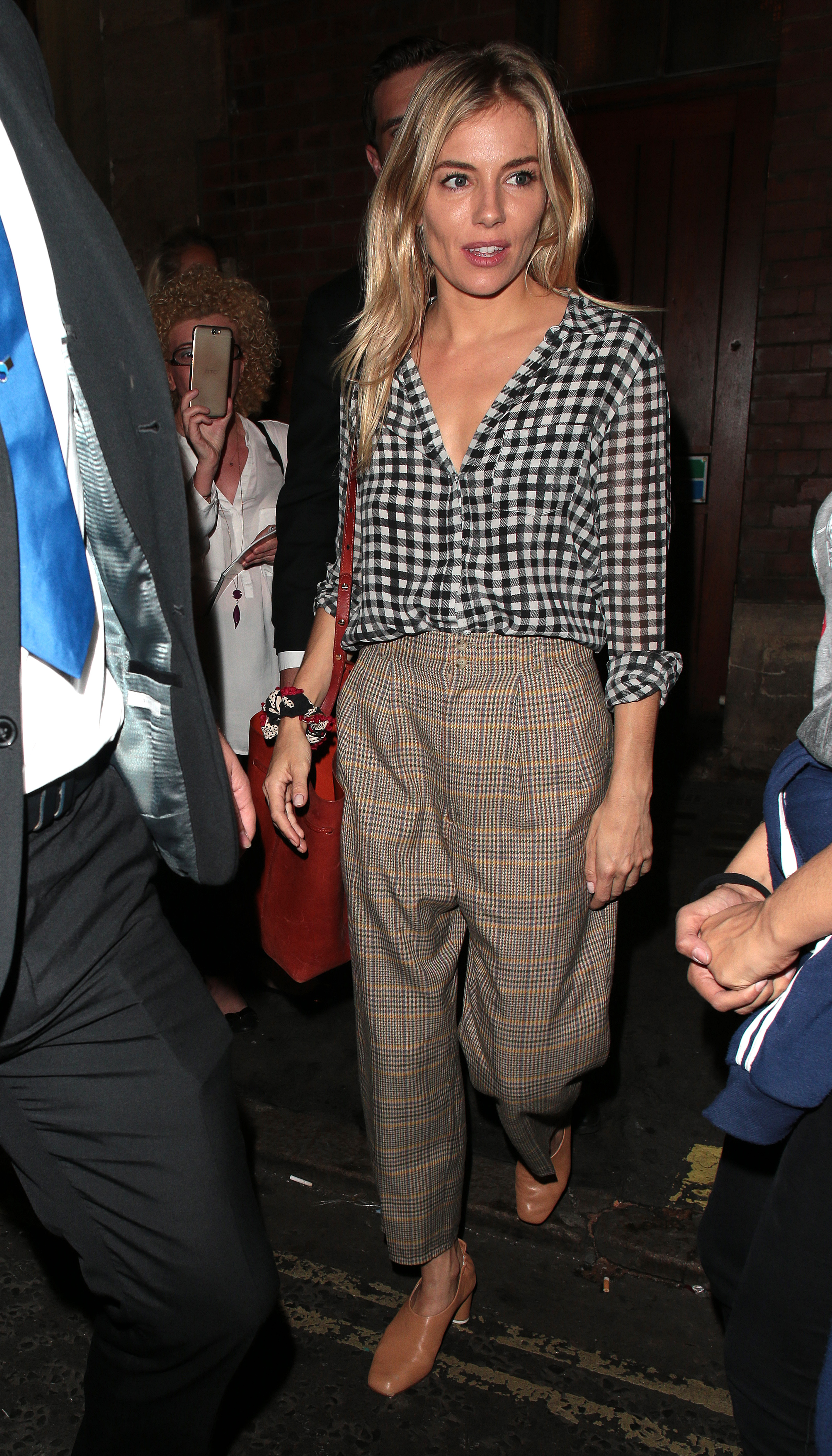 Sienna Miller plaid london