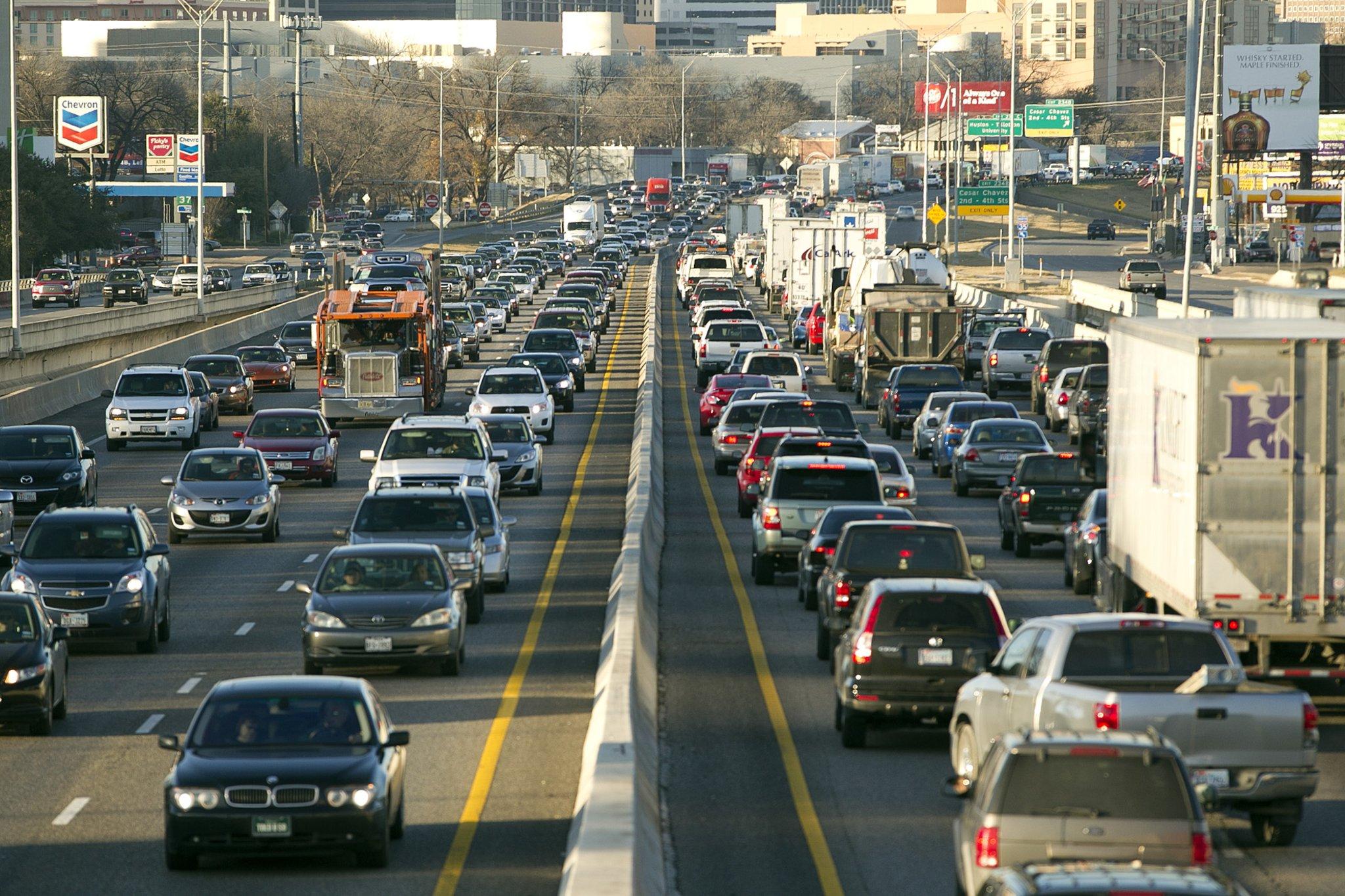 I35 traffic headed into Downtown Austin