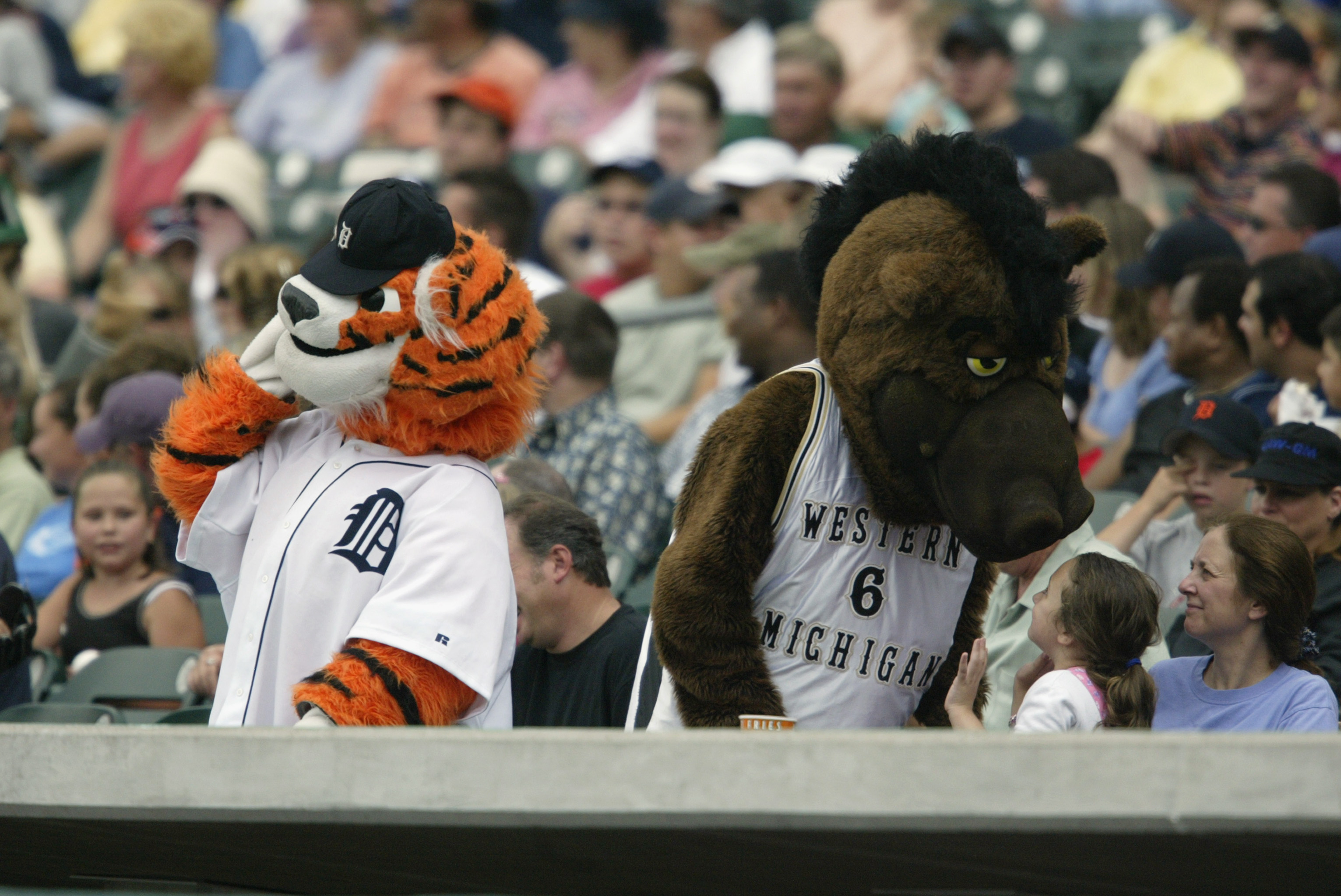 Paws and Buster Bronco attend the game