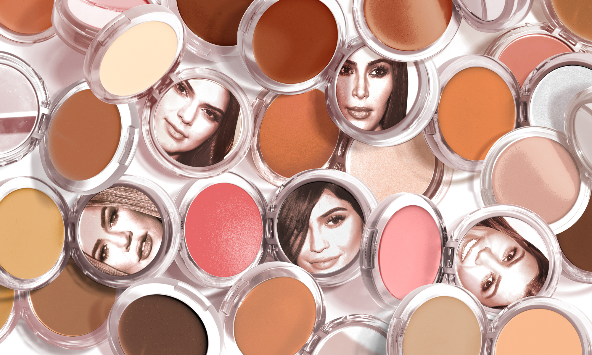 The Kardashian-Jenner sisters' faces are reflected in makeup compact mirrors