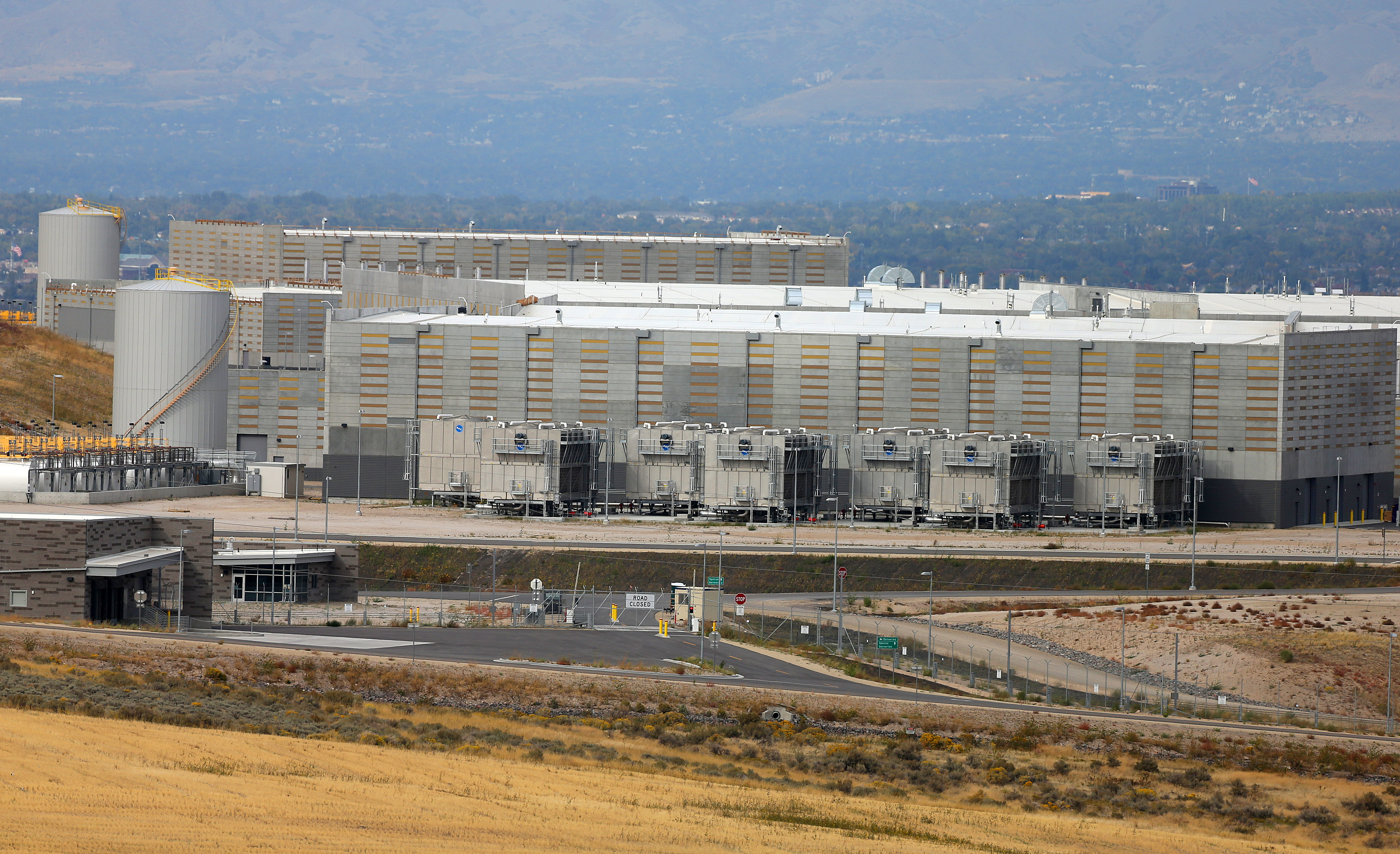 Image of the outside of the new NSA Data Center in Salt Lake Valley