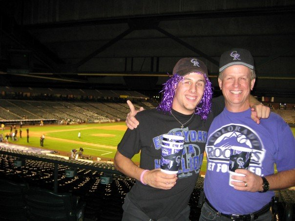 Father and son at Coors Field, October 1, 2007