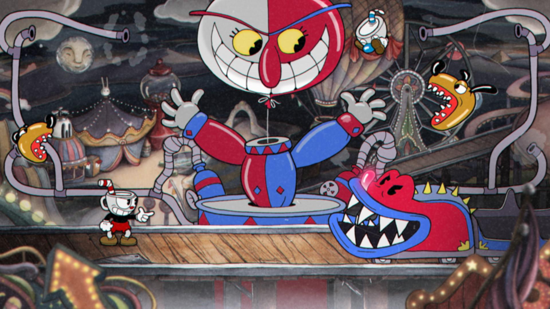 Cuphead - balloon boss with alligator-like enemy