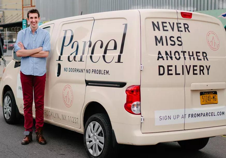 Parcel founder Jesse Kaplan posing next to a Parcel delivery van.