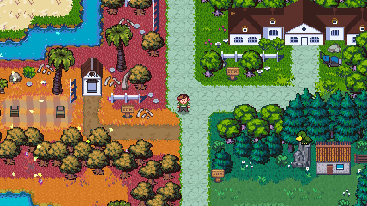 the player standing in a path in the middle of a town in Golf Story