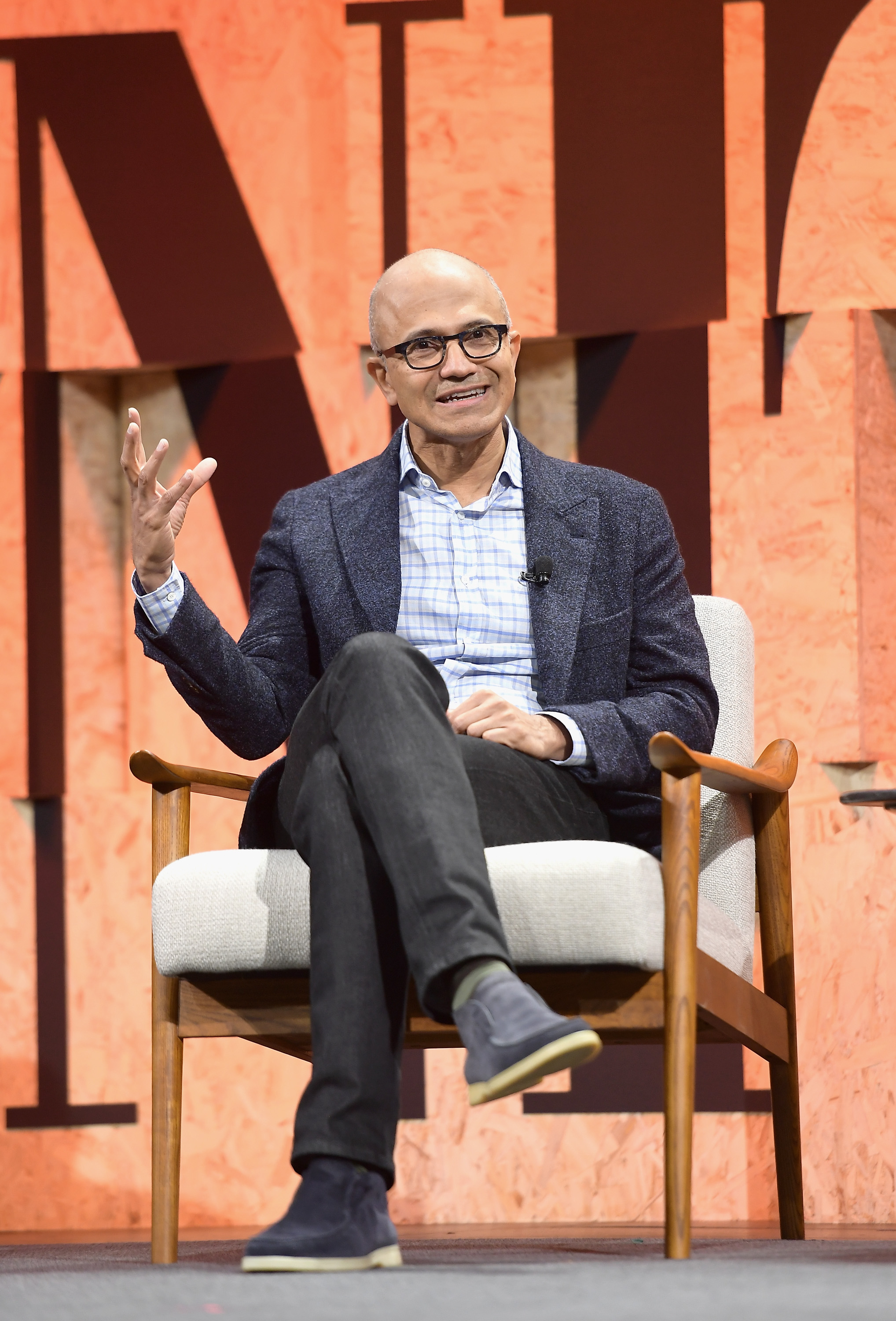 CEO of Microsoft Satya Nadella speaks onstage during the Vanity Fair New Establishment Summit at Wallis Annenberg Center for the Performing Arts on October 2, 2017 in Beverly Hills, California.