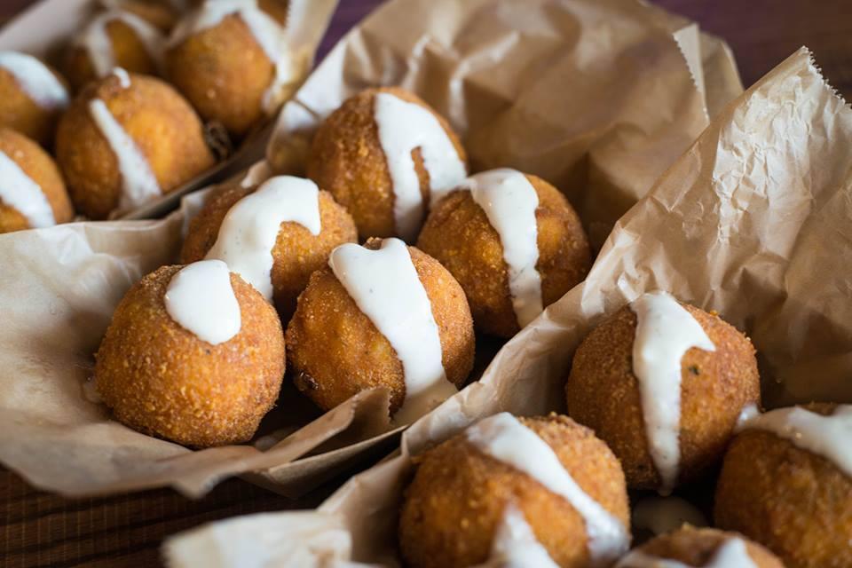 Fried mac and cheese balls from Peli Peli