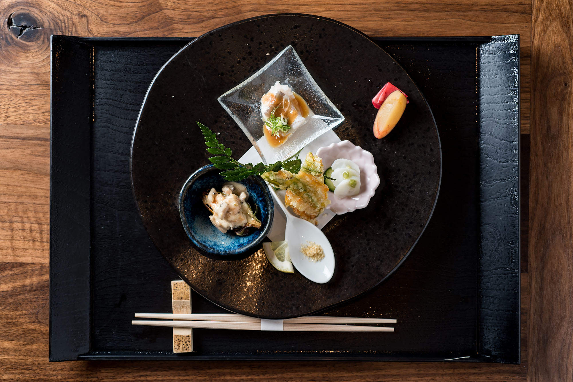 Dishes as part of the kaiseki meal at N/Naka in Los Angeles