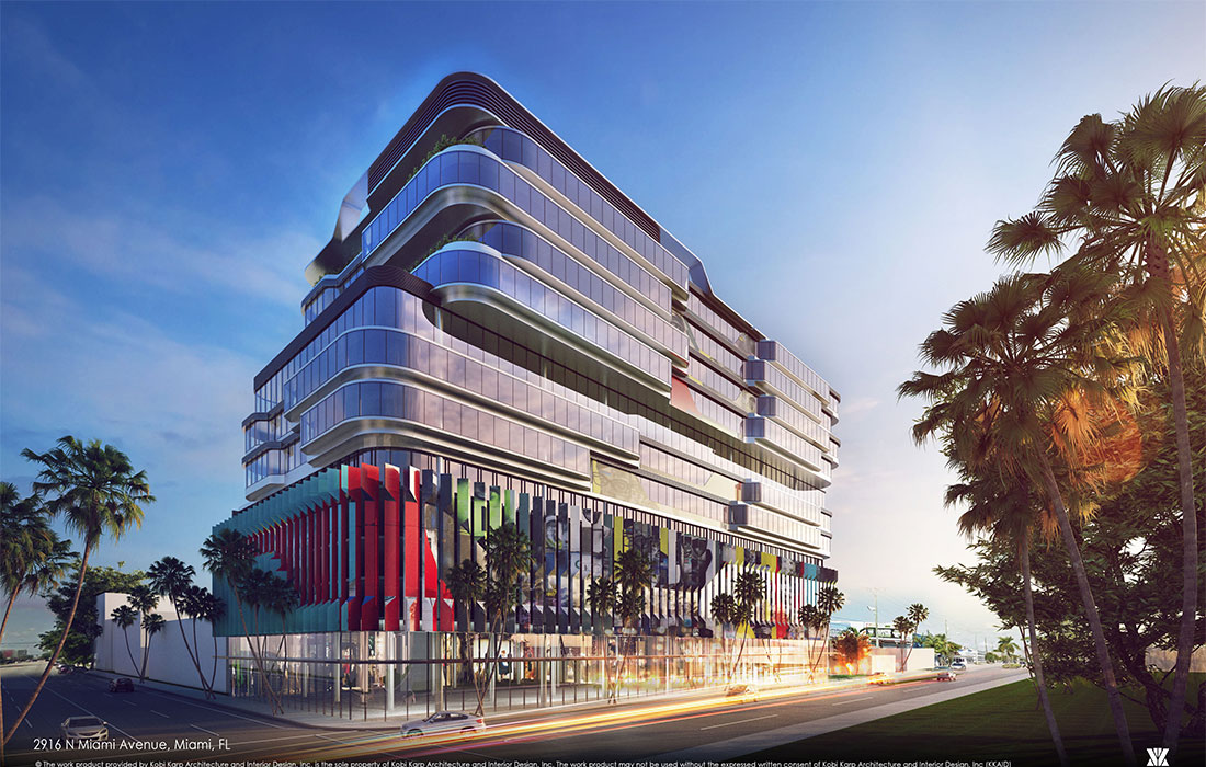 Rendering of the Gateway at Wynwood, a colorful modern office building